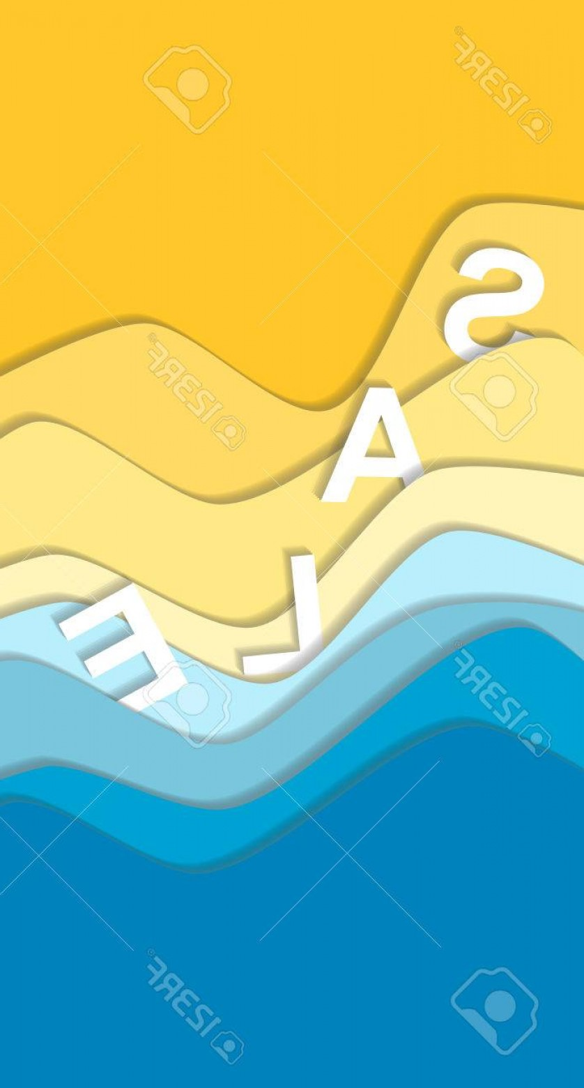 Vector Yellow And Orange Beach: Photostock Vector Yellow And Blue Curve Wave Line Background Sea And Beach In Paper Cut Style Sale Word Cropped With C
