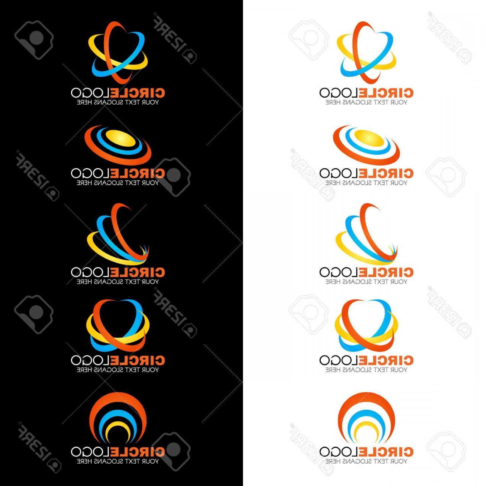 Blue And Orange Circle Vector: Photostock Vector Yellow Blue Orange Circle Wave Line Logo Vector Design