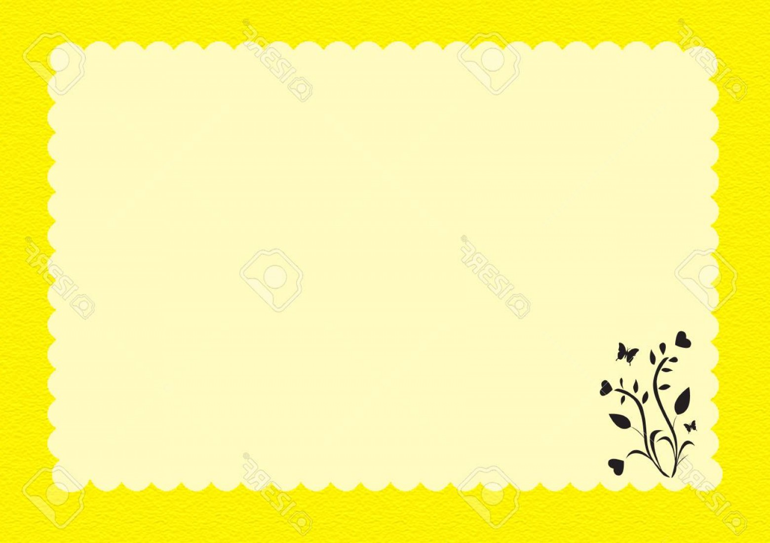 Black Scalloped Border Vector: Photostock Vector Yellow Scalloped Border With Pale Yellow Writing Space And Black Floral At Corner