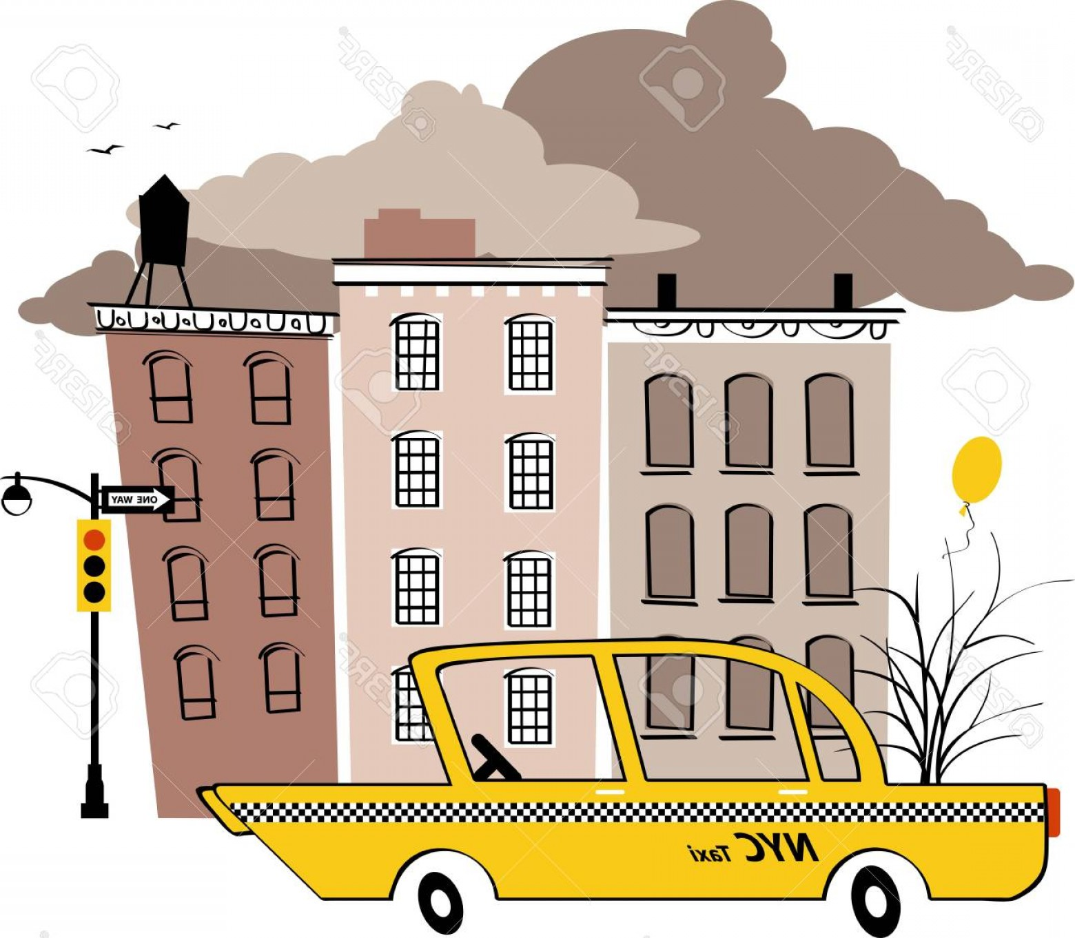 New York Taxi Cab Vector: Photostock Vector Yellow Taxi Cab In The Typical New York Street Vintage Inspired Vector Illustration