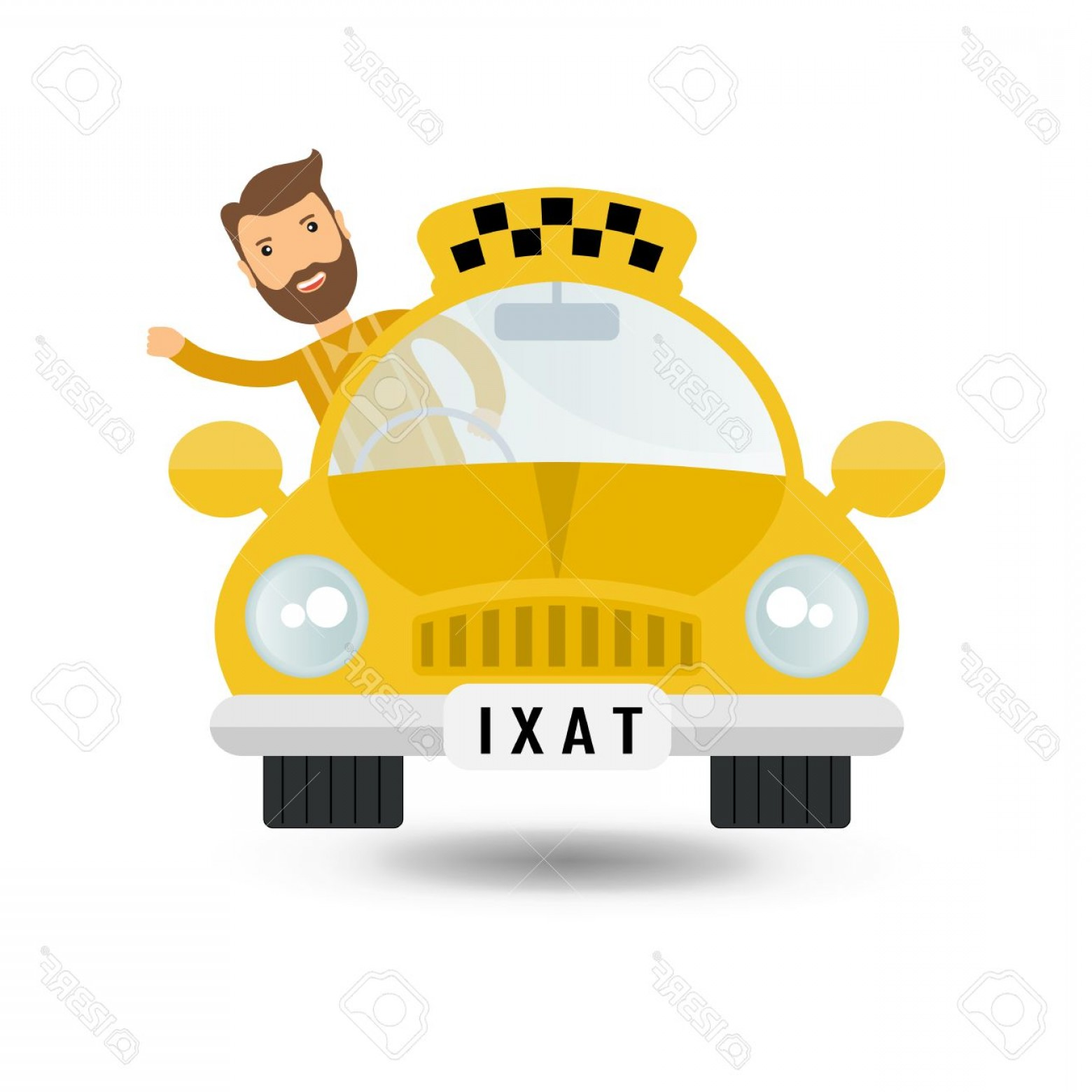 Vector Taxi Cab Driver: Photostock Vector Yellow Taxi Car And Taxi Driver Vector Icon