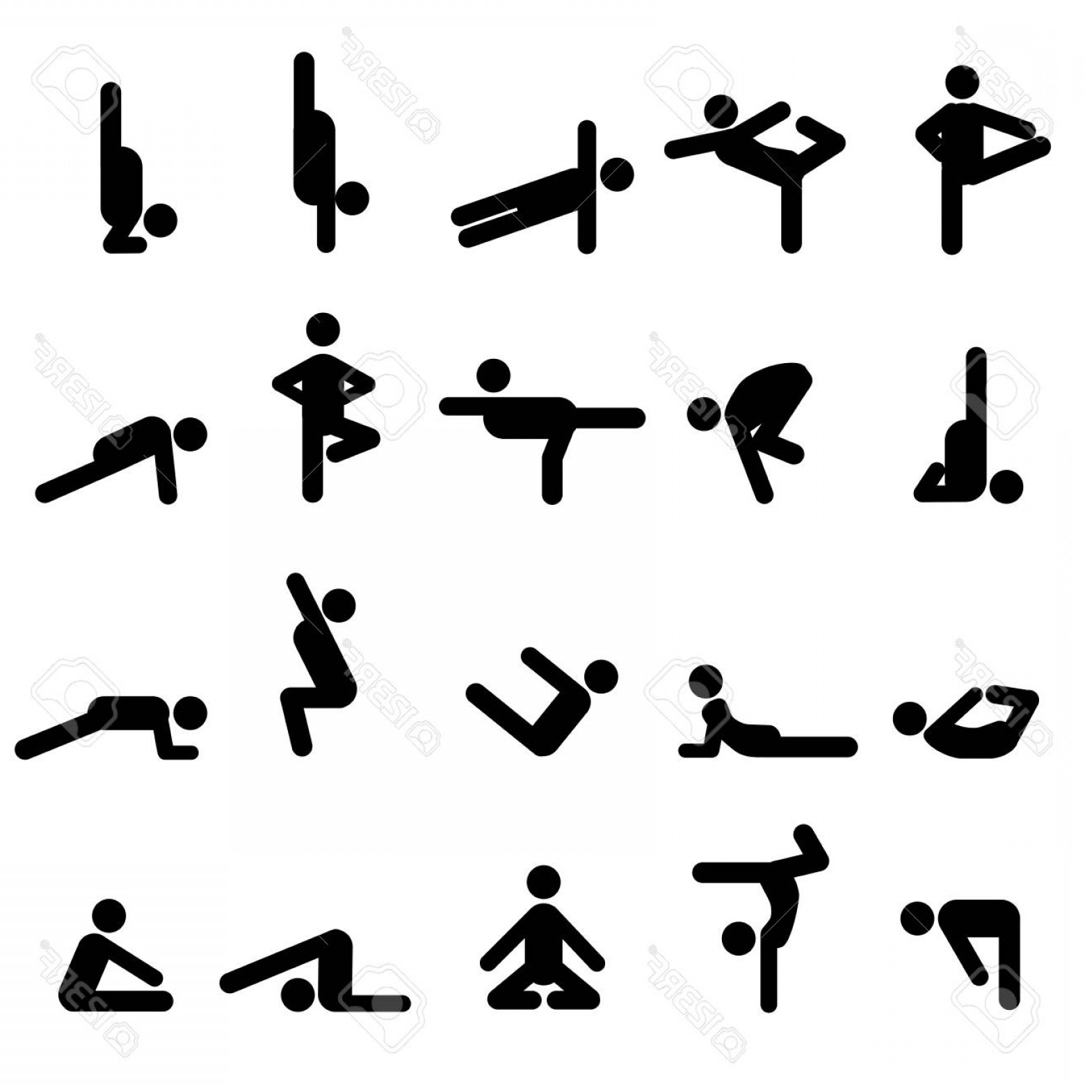 Yoga Stick Figure Vector: Photostock Vector Yoga Poses In Stick Figures