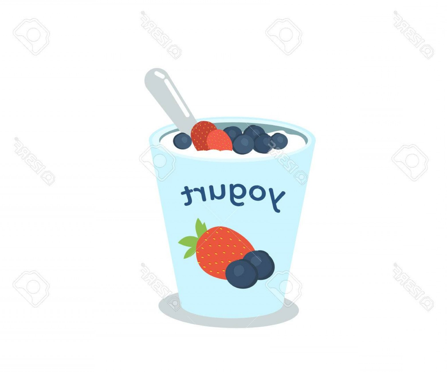 Yogurt Vector: Photostock Vector Yogurt Cup With Berries Vector Illustration