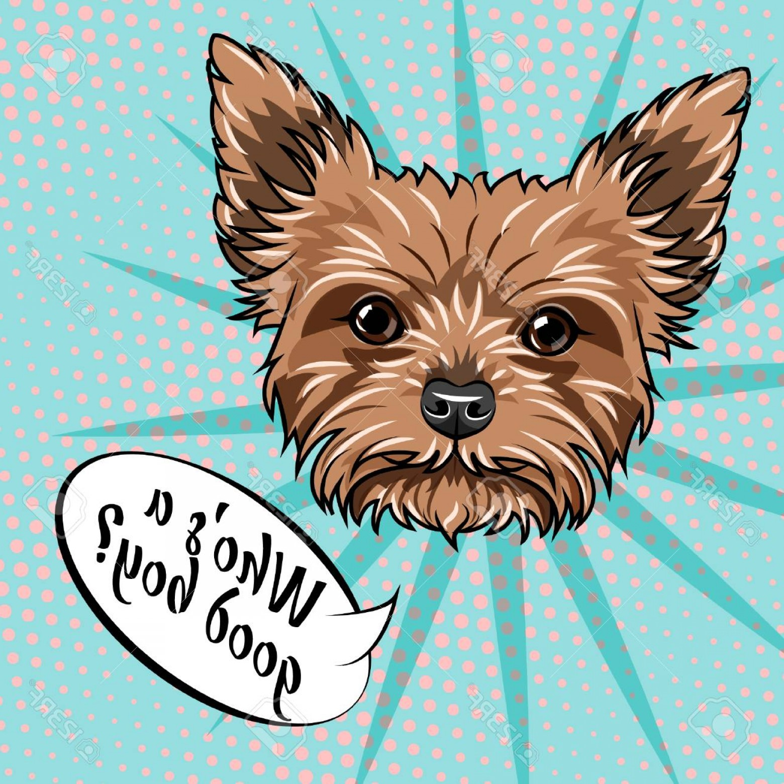 Cute Yorkie Dog Vector: Photostock Vector Yorkshire Terrier Dog Who Is Good Boy Lettering Dog Cute Portrait Dog Breed Vector Illustration