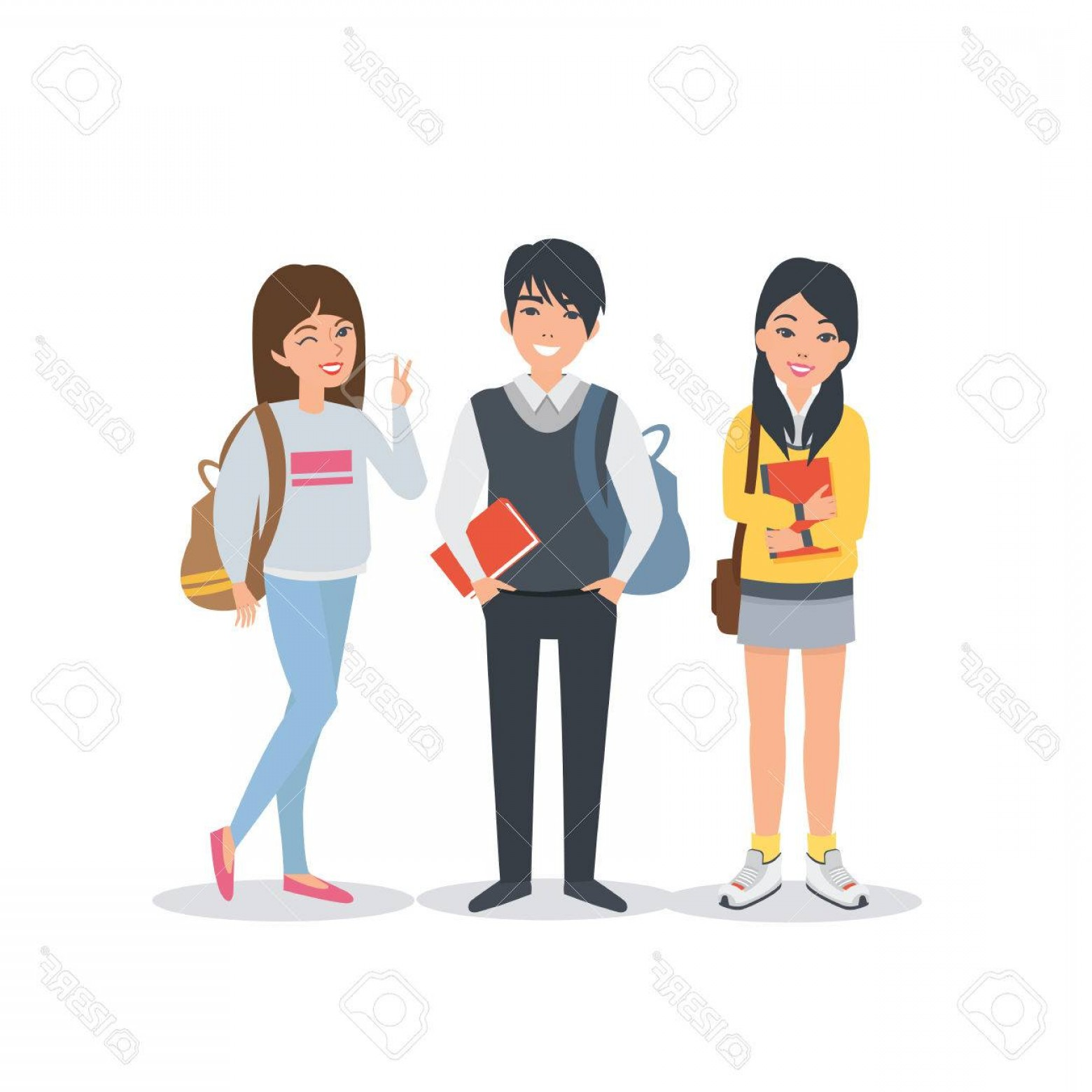 Asian Student Vector: Photostock Vector Young Asian Student Characters Collection Students Lifestyle Vector Students Illustration