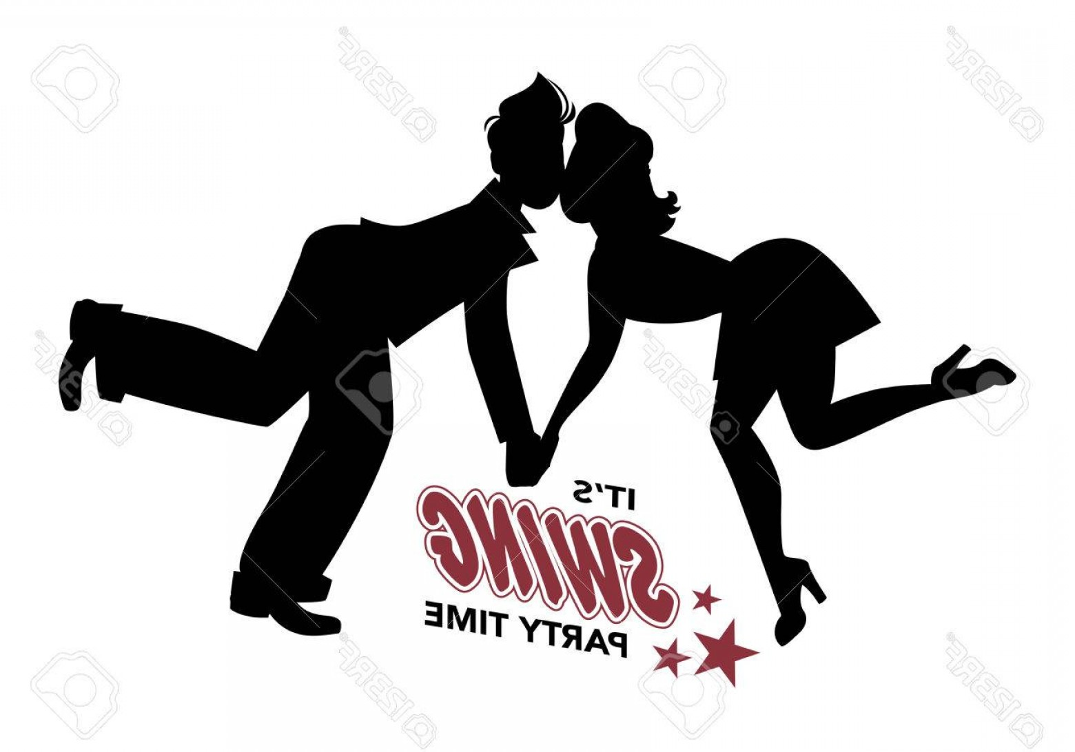 Vector Swing Dancers: Photostock Vector Young Couple Silhouette Swing Dancing Lindy Hop Rock And Roll