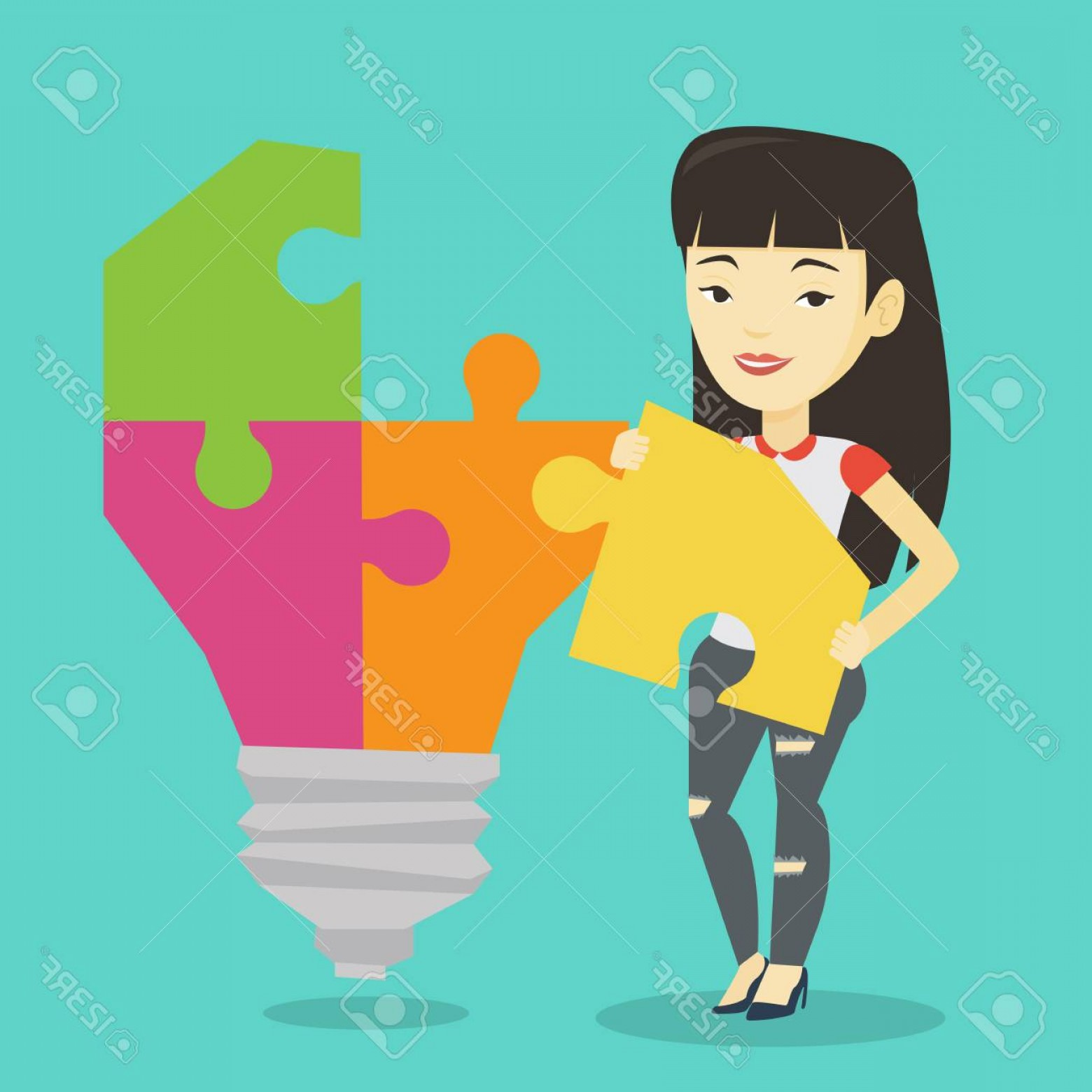 Asian Student Vector: Photostock Vector Young Excited Asian Student Takes Apart Idea Light Bulb Made Of Puzzle Happy Student Standing Near T