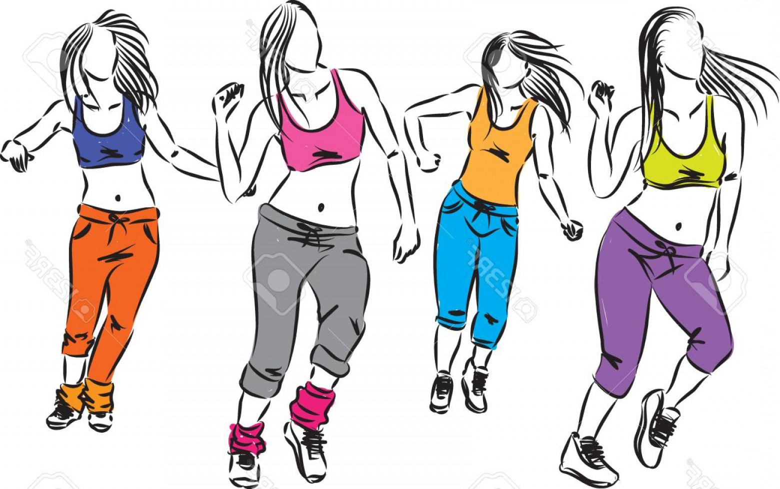 Zumba Vector Illustration: Photostock Vector Young Group Of Dancers Fitness Illustration