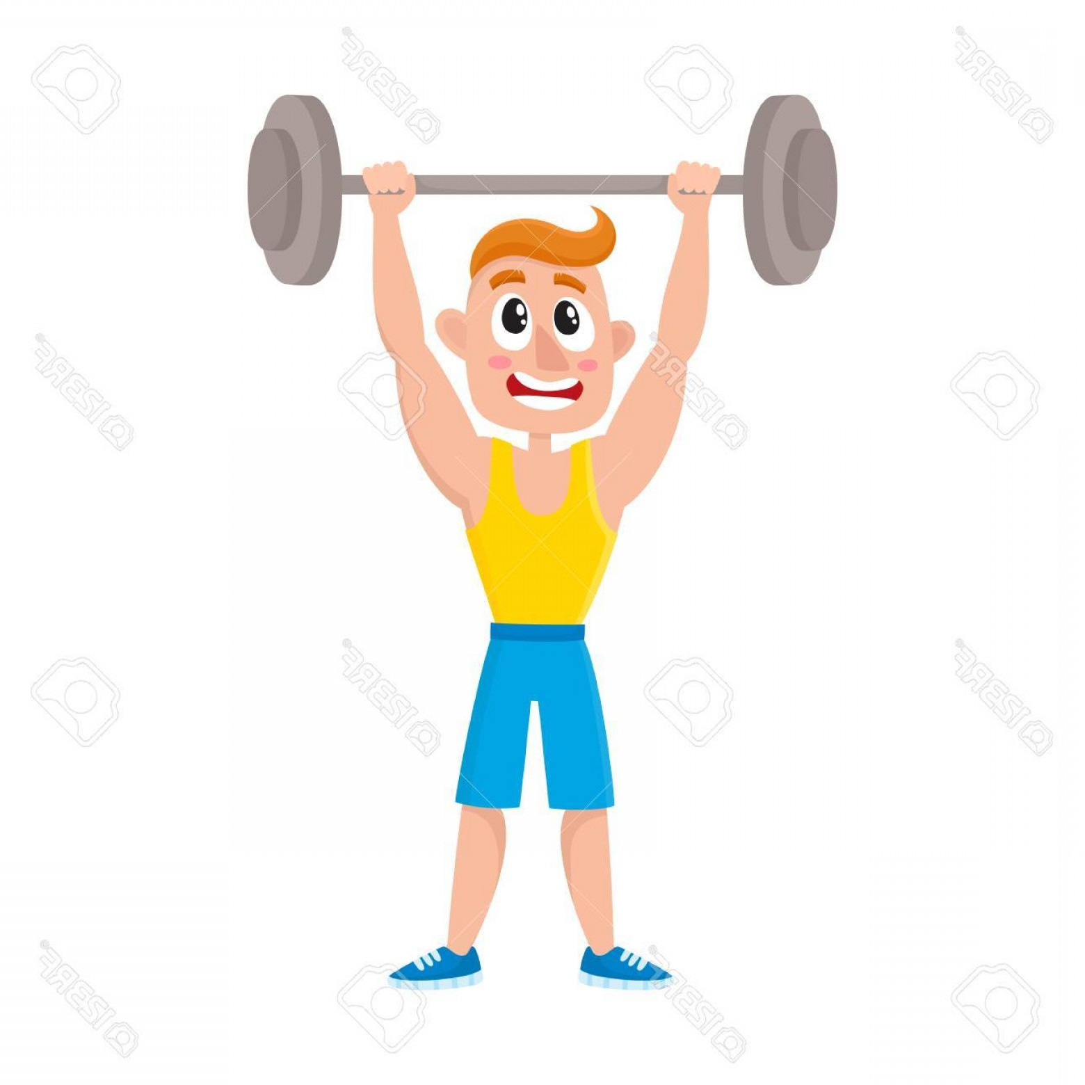 Vector Barbell Press: Photostock Vector Young Man Doing Shoulder Press With Barbell Training Weightlifting In Gym Cartoon Vector Illustratio