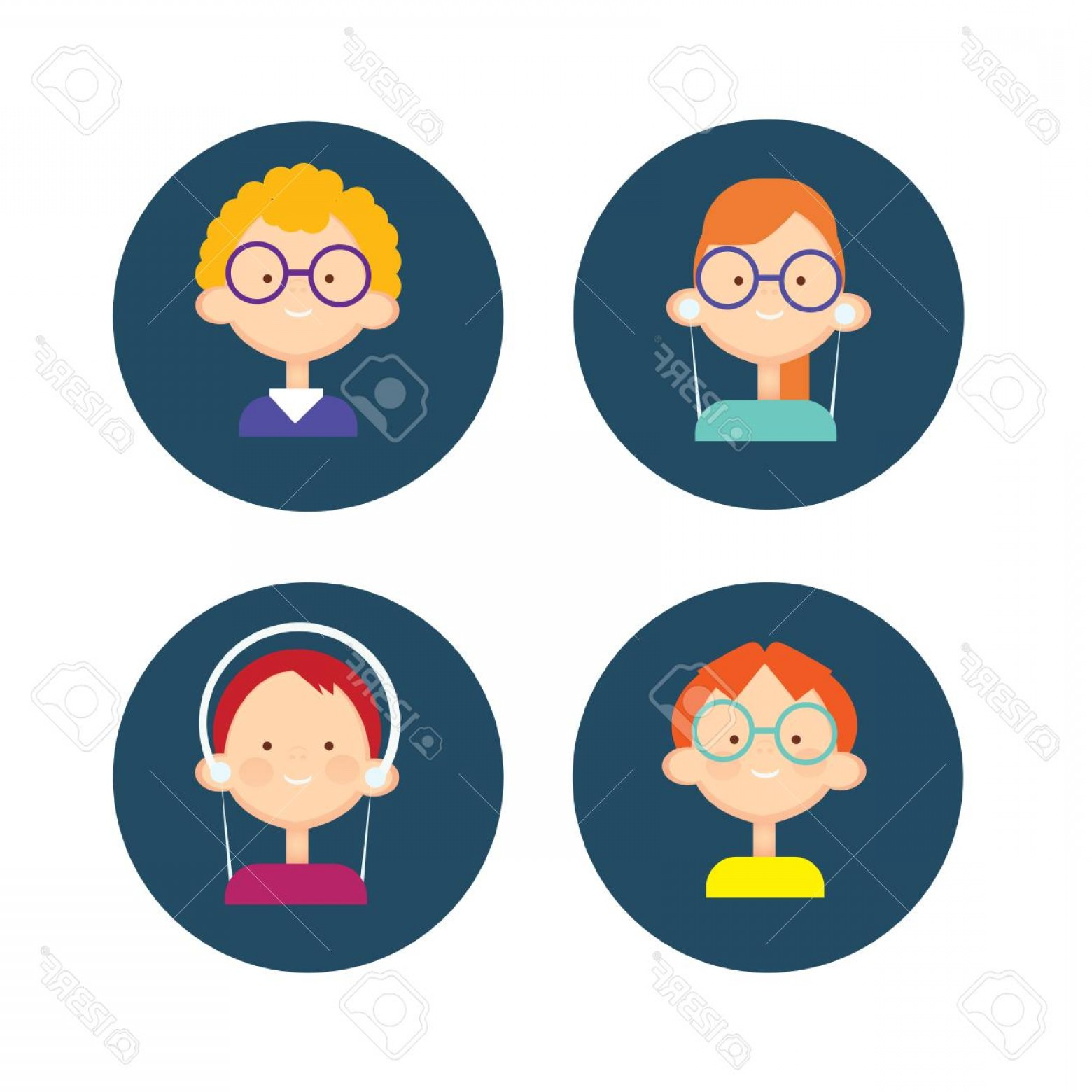 Teenage Icons Vector: Photostock Vector Young People Group Icon Set Teenager Children Avatar Flat Vector Illustration