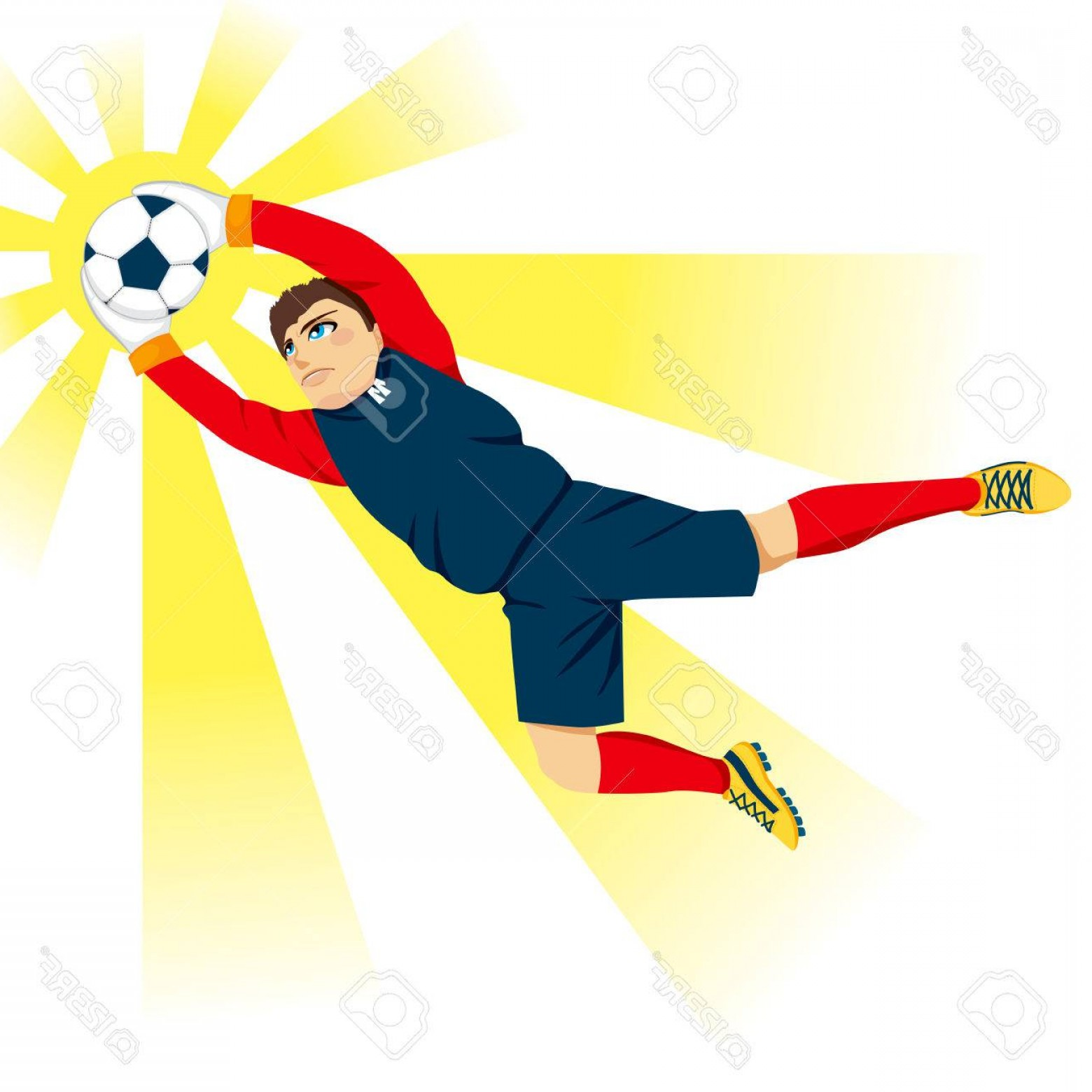 Vector Professional Goal: Photostock Vector Young Professional Goal Keeper Jumping Catching The Ball With Flash Effect