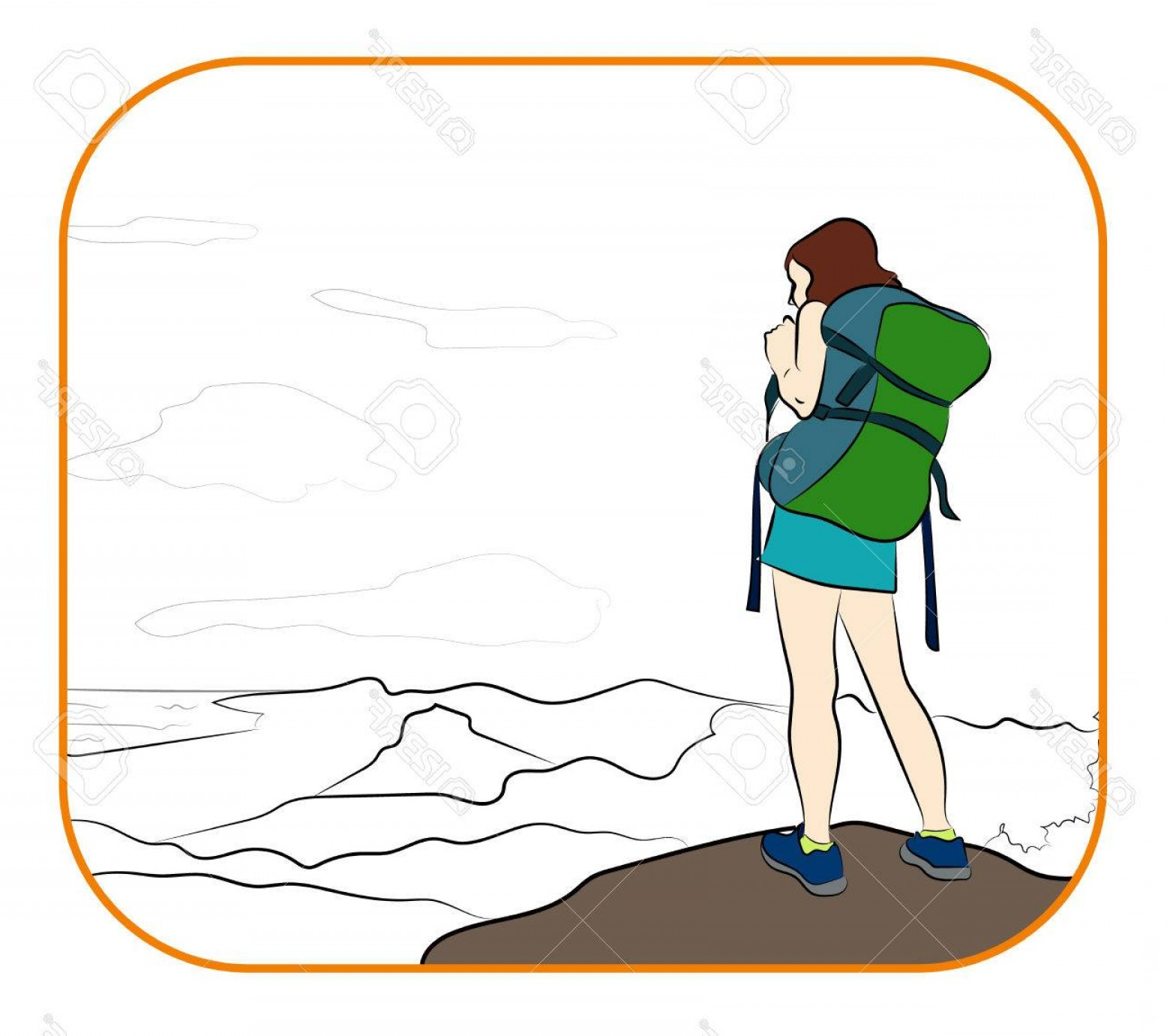 Mountain Trail Vector: Photostock Vector Young Woman Walking Alone On A Mountain Trail Girl Looks At A Horizon Adventure Travel Summer Vacati