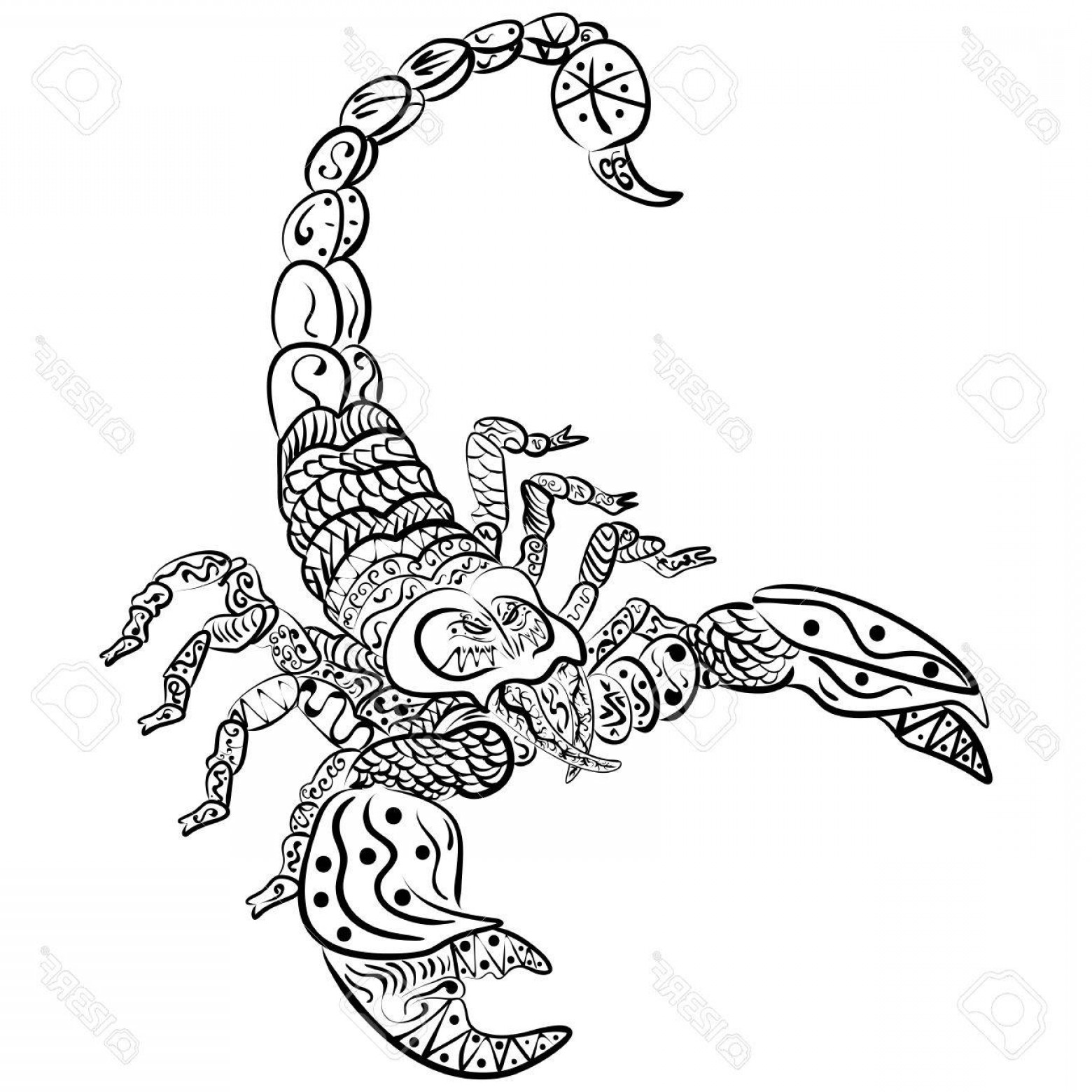 Zentangle Vector: Photostock Vector Zentangle Vector Scorpion Black And White Zentangle Art Ethnic Patterned Illustration Tattoo Poster