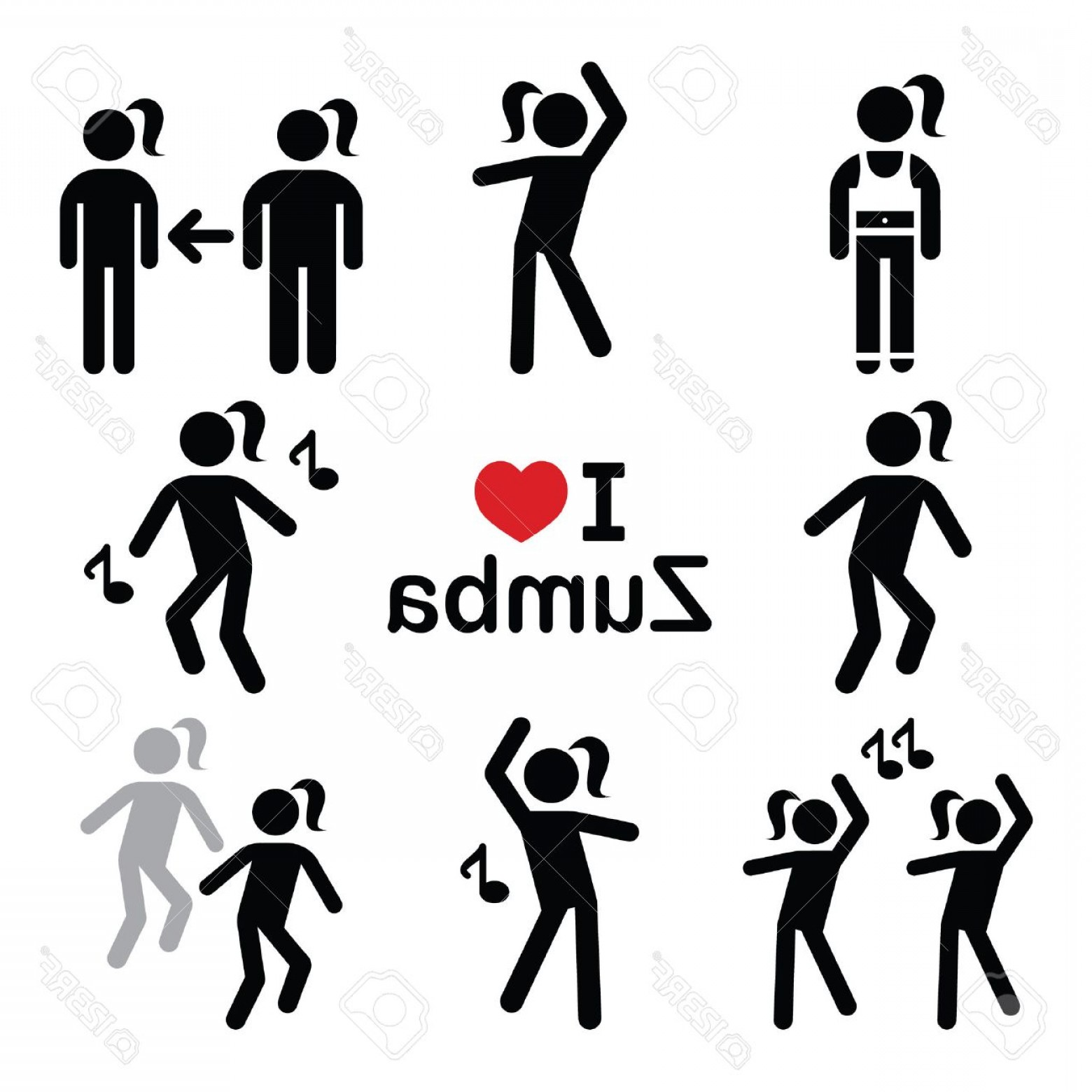 Zumba Vector Illustration: Photostock Vector Zumba Dance Workout Fitness Icons Set