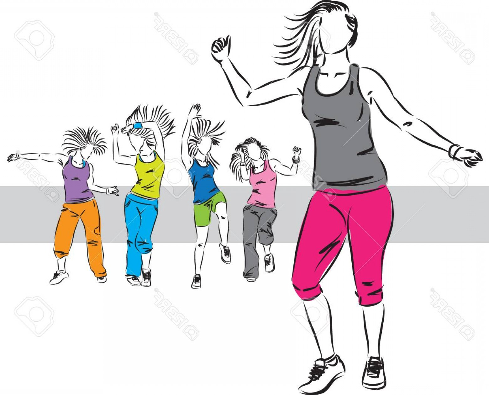 Zumba Vector Illustration: Photostock Vector Zumba Dancers Group Illustration D