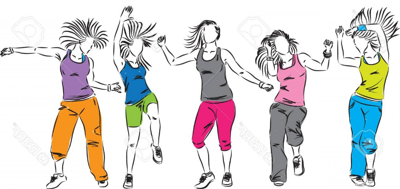 Zumba Vector Illustration: Photostock Vector Zumba Dancers Group Illustration