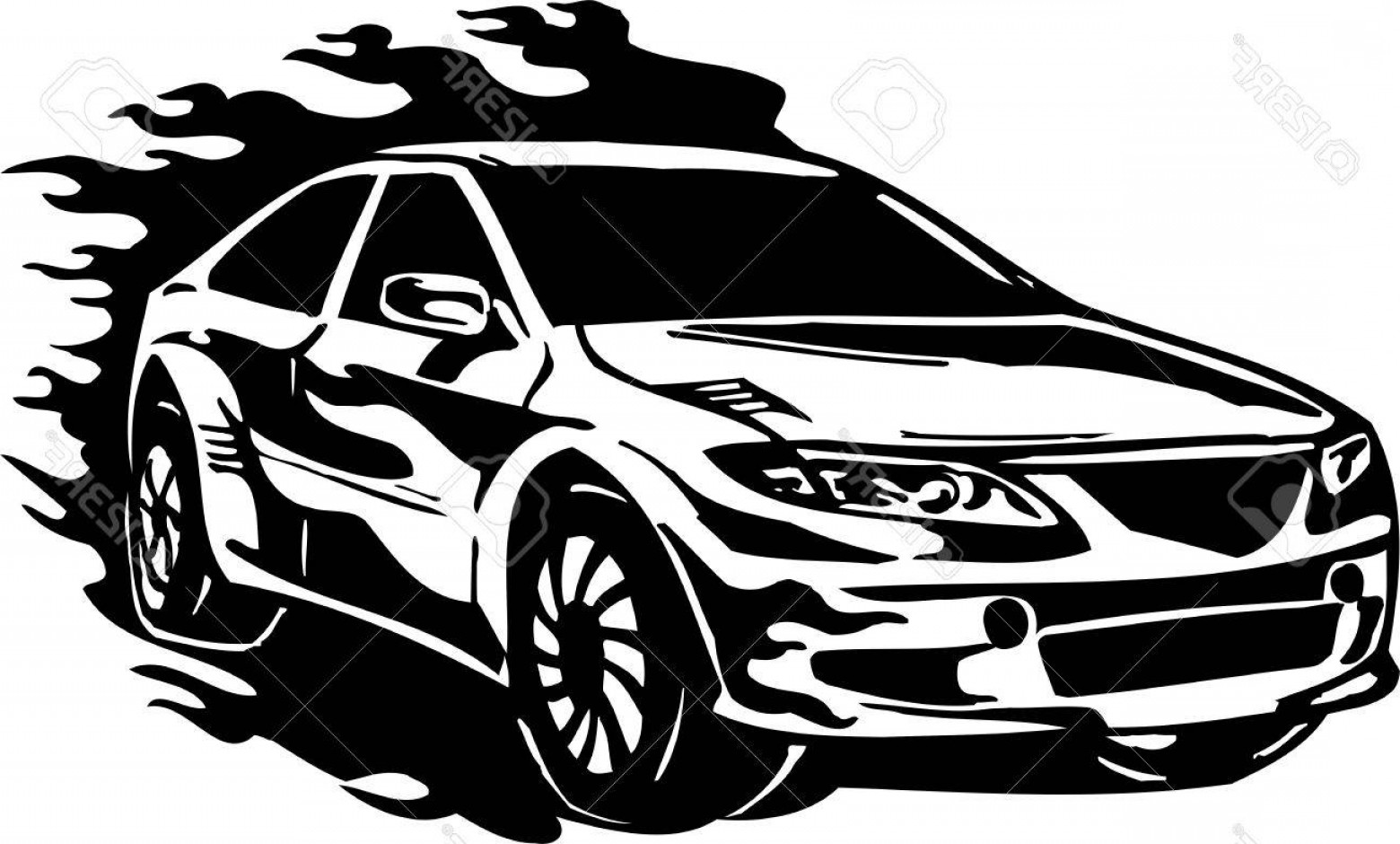 Vector Images Of Cars On Streets: Photostreet Racing Cars Illustration Ready For Vinyl Cutting