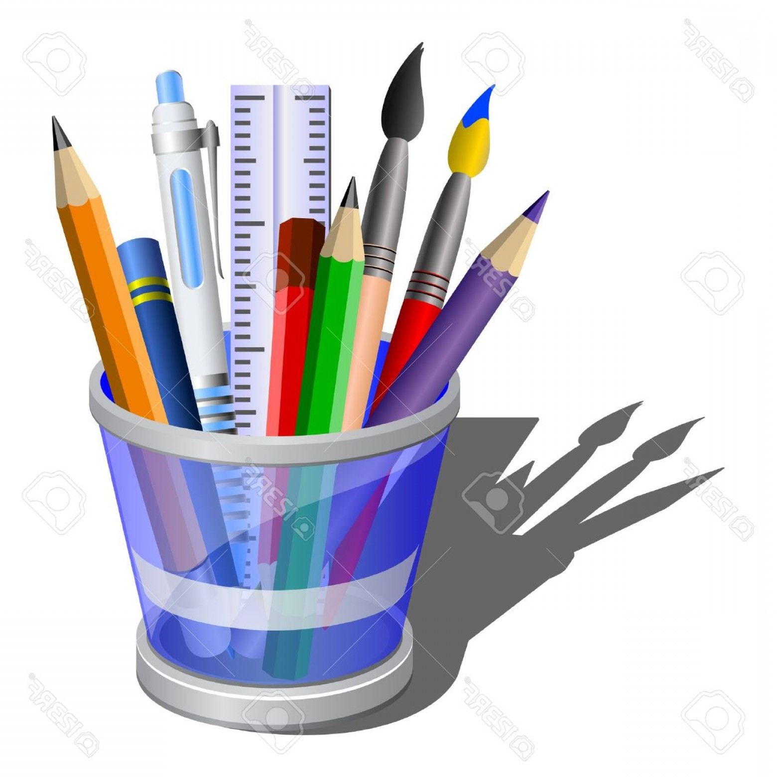 Vector Pencil Holder: Photostylized Icon Of Blue Pencil Holder With Acessories Isometric View