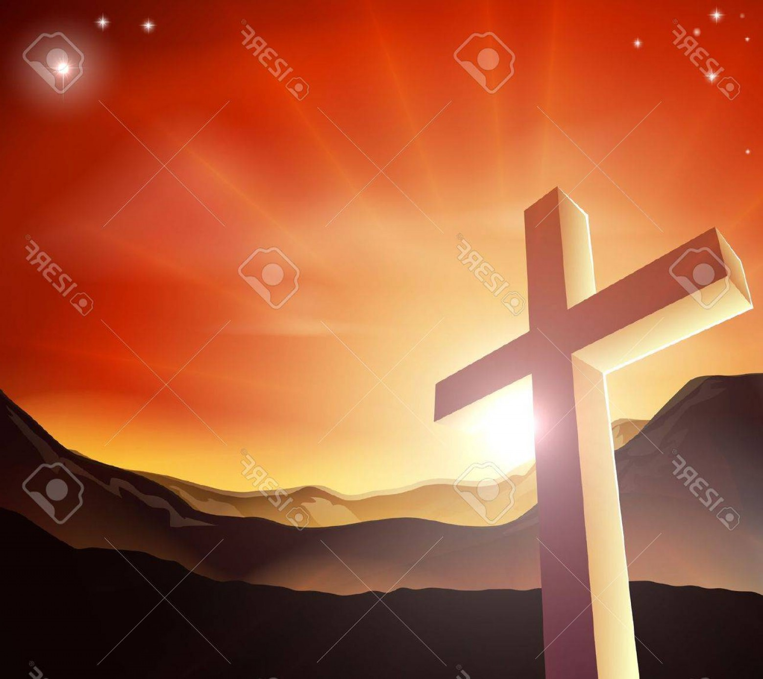 Christian Vector Sun: Photosun Rising Behind The Cross Over A Mountain Range Resurrection Christian Easter Concept