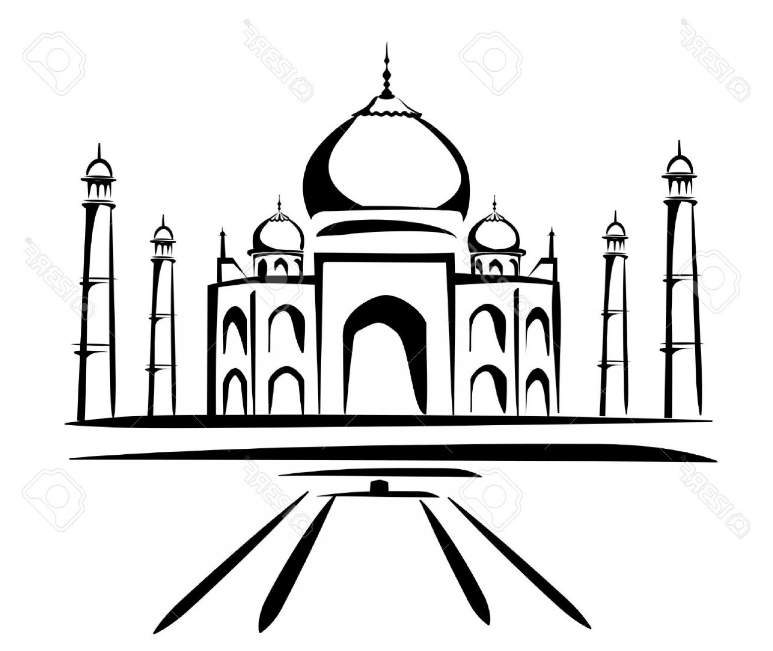 Taj Mahal Vector: Phototaj Mahal Vector Illustration Symbol In Black Lines