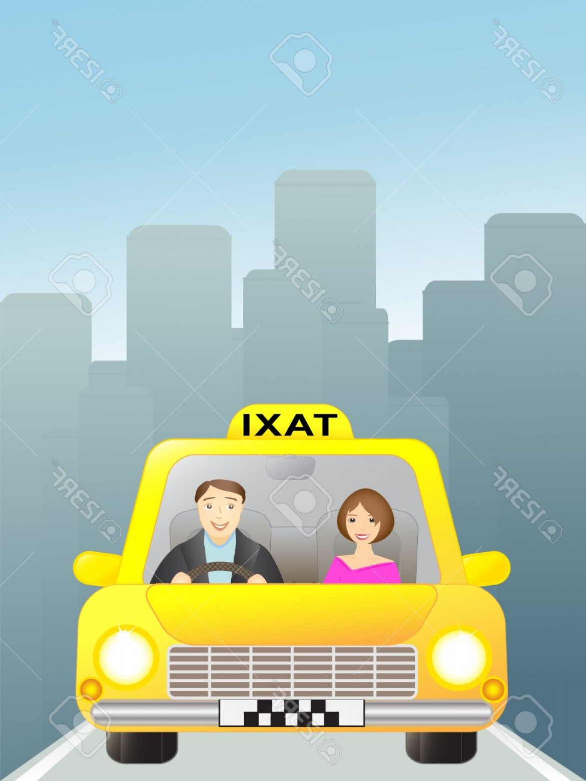 Vector Taxi Cab Driver: Phototaxi With Woman Passenger In The Big City