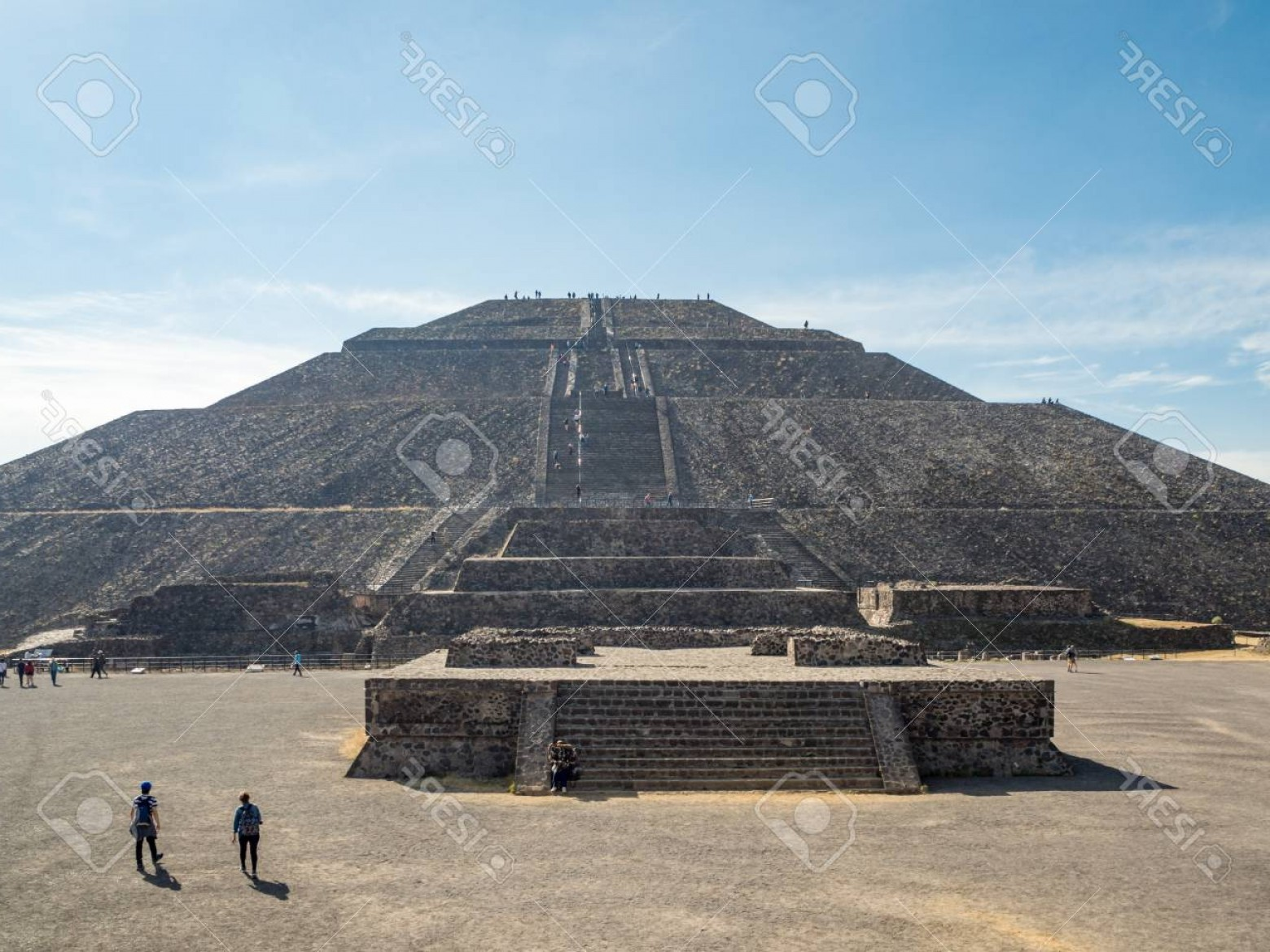 Vector South America Ancient Ruins: Phototeotihuacan Mexico City Mexico South America Janunary The Great Pyramid Of Sun And Moon Views O