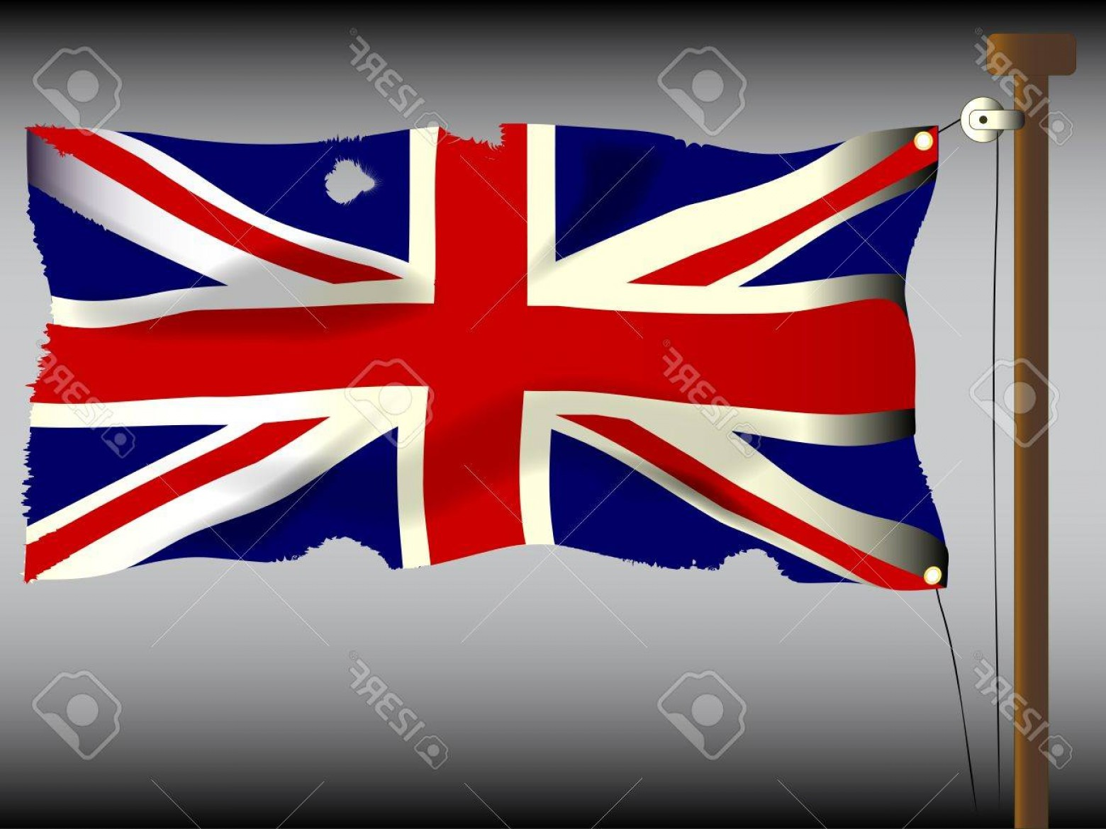 Union Jack Flag Tattered Vector: Photothe British Union Flag Or Union Jack When Used On Board Ship Damaged By Cannon And Musket Ball Fire