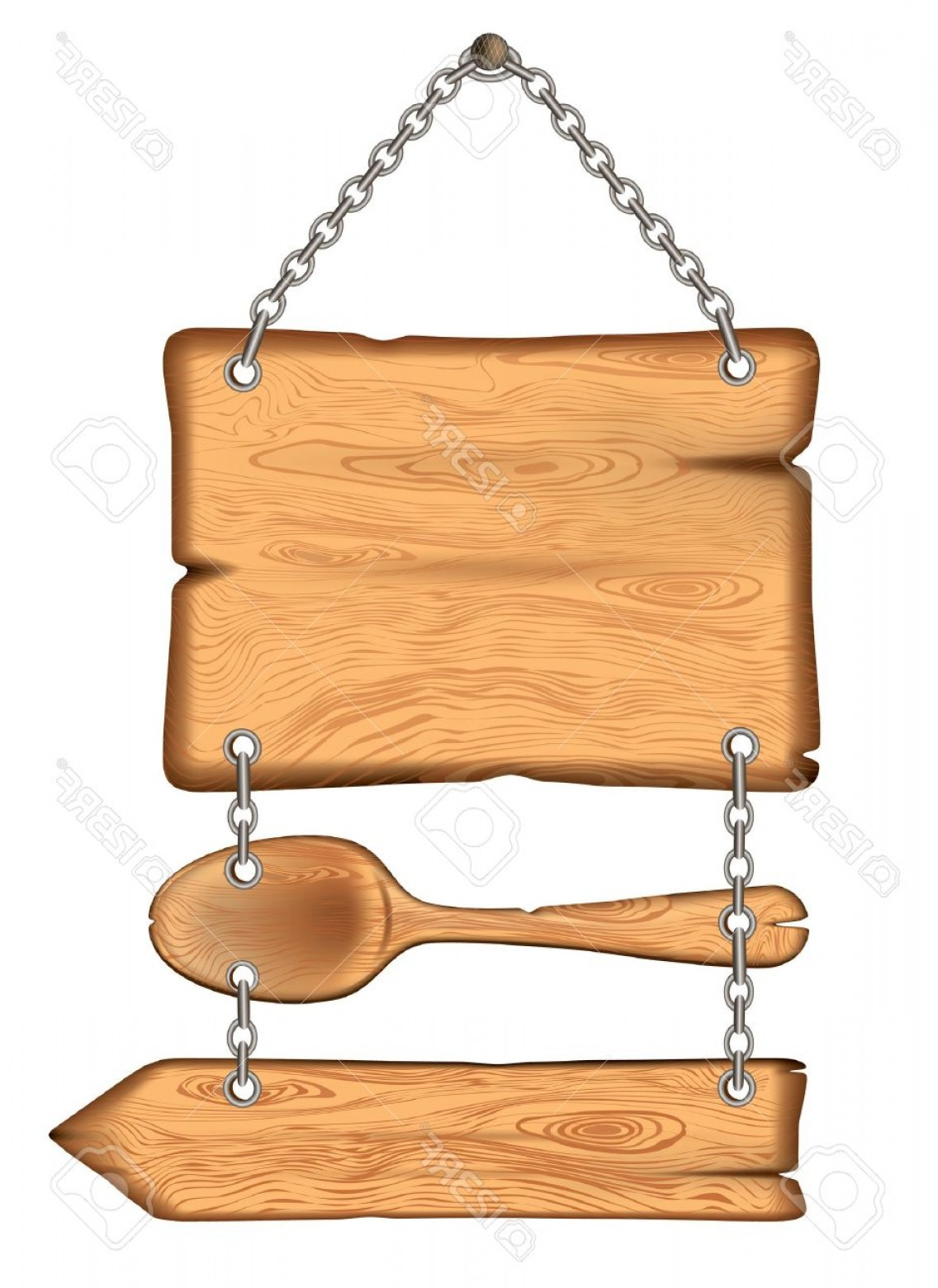 Old Wood Sign Vector: Photothe Old Wooden Sign With A Spoon Weighs On The Chains Vector