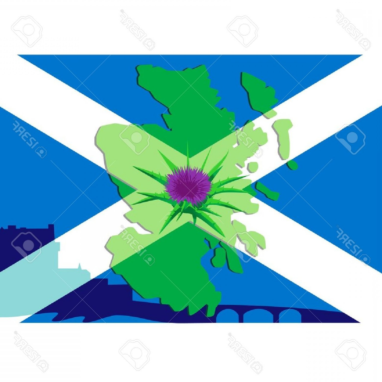 Scotland Heraldic Vector Graphic: Photothistle Flower On A Background Silhouette Maps Of Scotland And The Scottish Flag