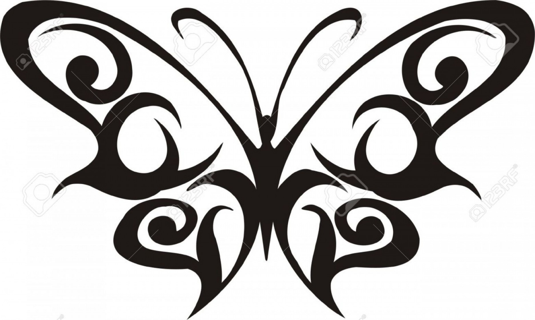 Butterly Vector: Phototribal Butterflies Vector Illustration Ready For Vinyl Cutting