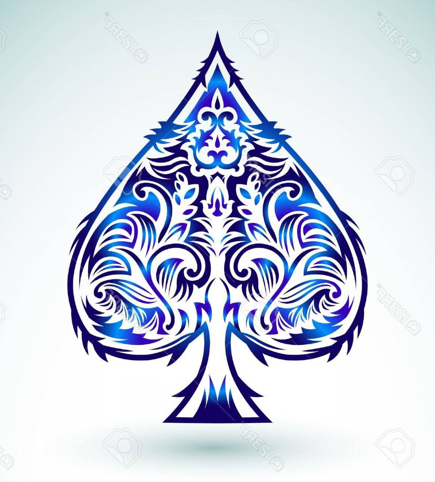 Playing Card Design Vector Illustration: Phototribal Style Design Spade Ace Poker Playing Cards Vector Illustration