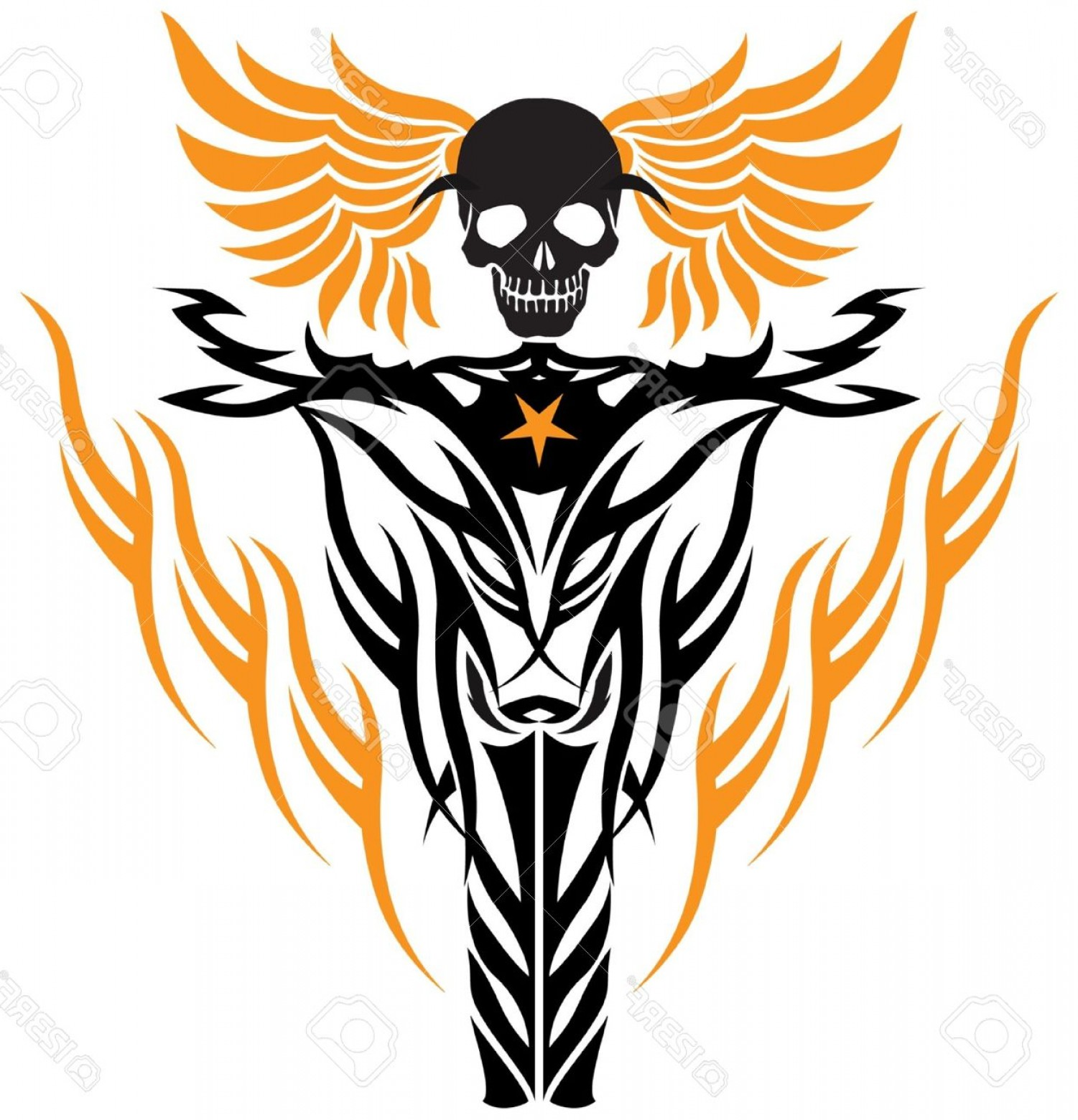 Flying Skull Vector: Phototribal Tattoo Style Flying Skull At Wheel Of Motorcycle
