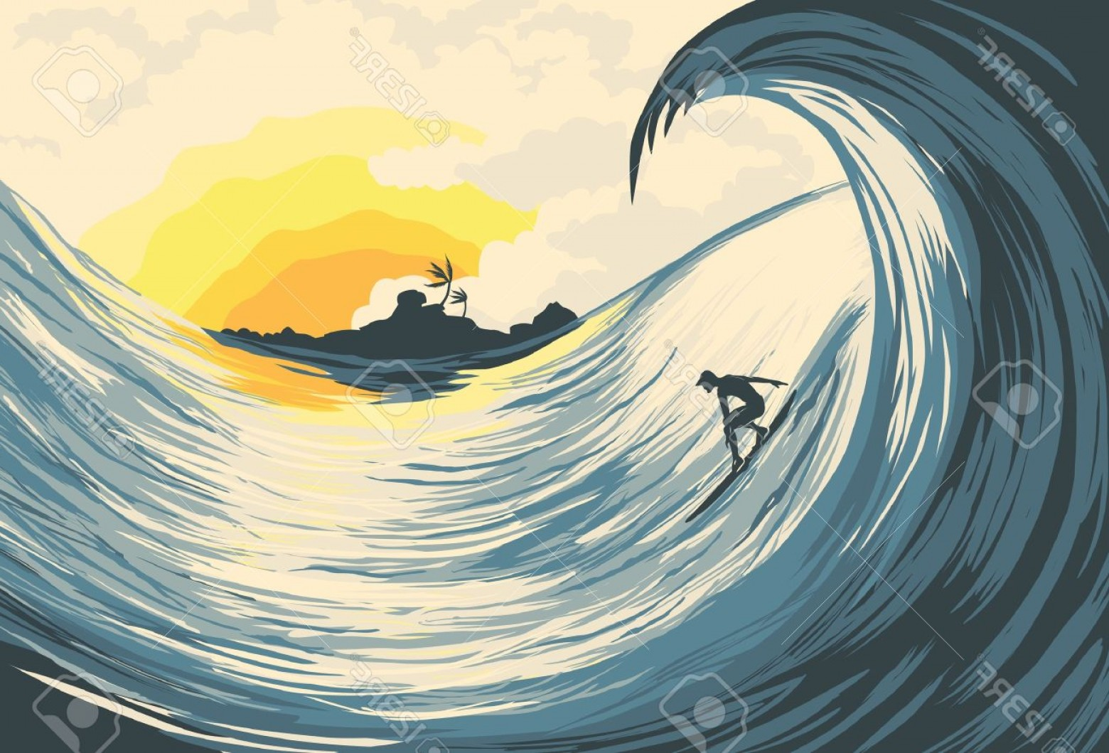 Waves With Surfer Silhouette Vector: Phototropical Island Wave And Surfer At Sunset
