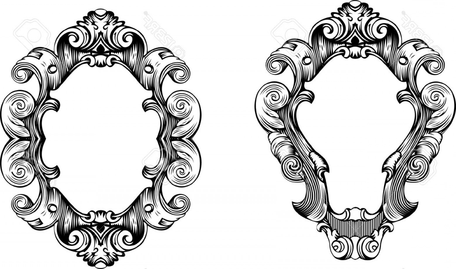 Baroque Vector Clip Art: Phototwo Elegant Baroque Ornate Curves Engraving Frames