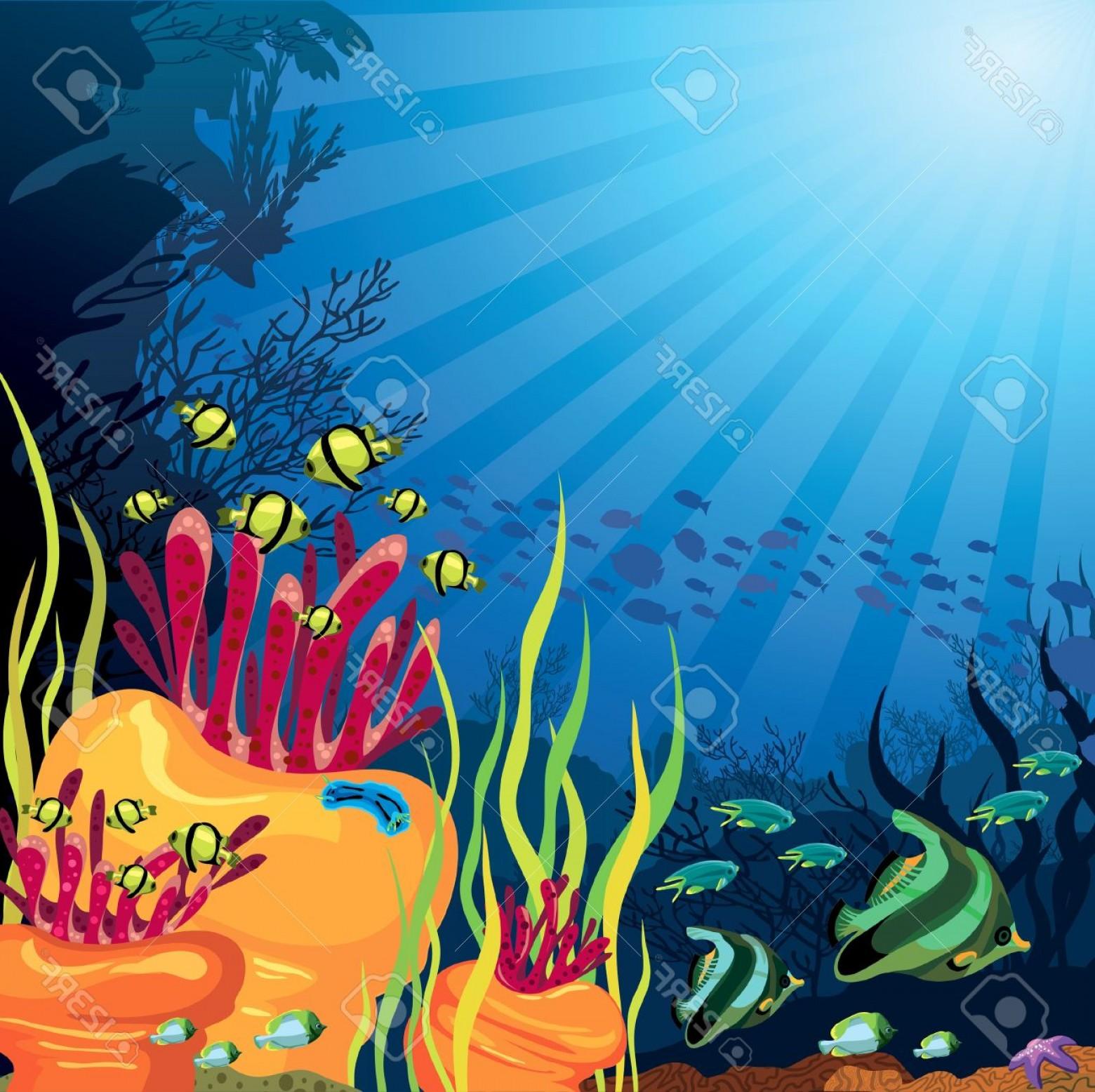 Underwater Sea Vector Art: Photounderwater Life Beautifull Coral Reef With Fish On A Blue Sea Background