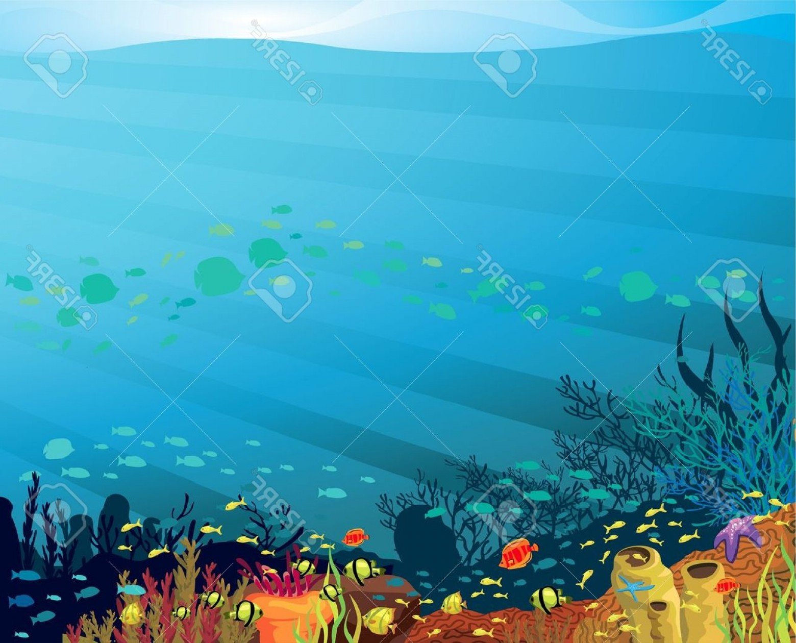 Underwater Sea Vector Art: Photounderwater Life Coral Reef With Fish On A Blue Sea Background