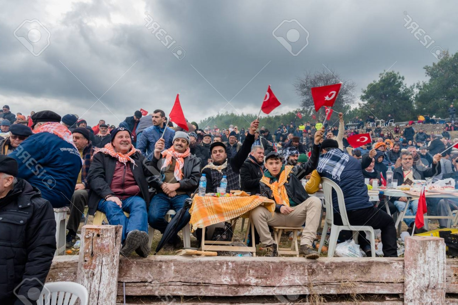 Vector Wrestling Audience: Photounidentified Turkish People Eating And Watching Camel Wrestling In Arena Camel Wrestling Is Popular