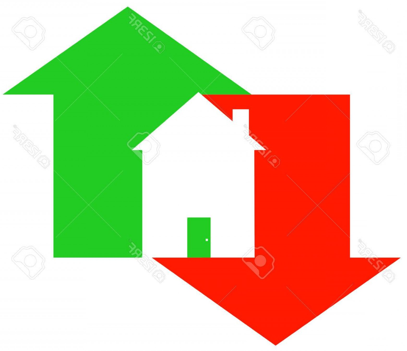 Equal Housing Vector: Photoup And Down Arrow With House Fluctuating Housing Market Vector