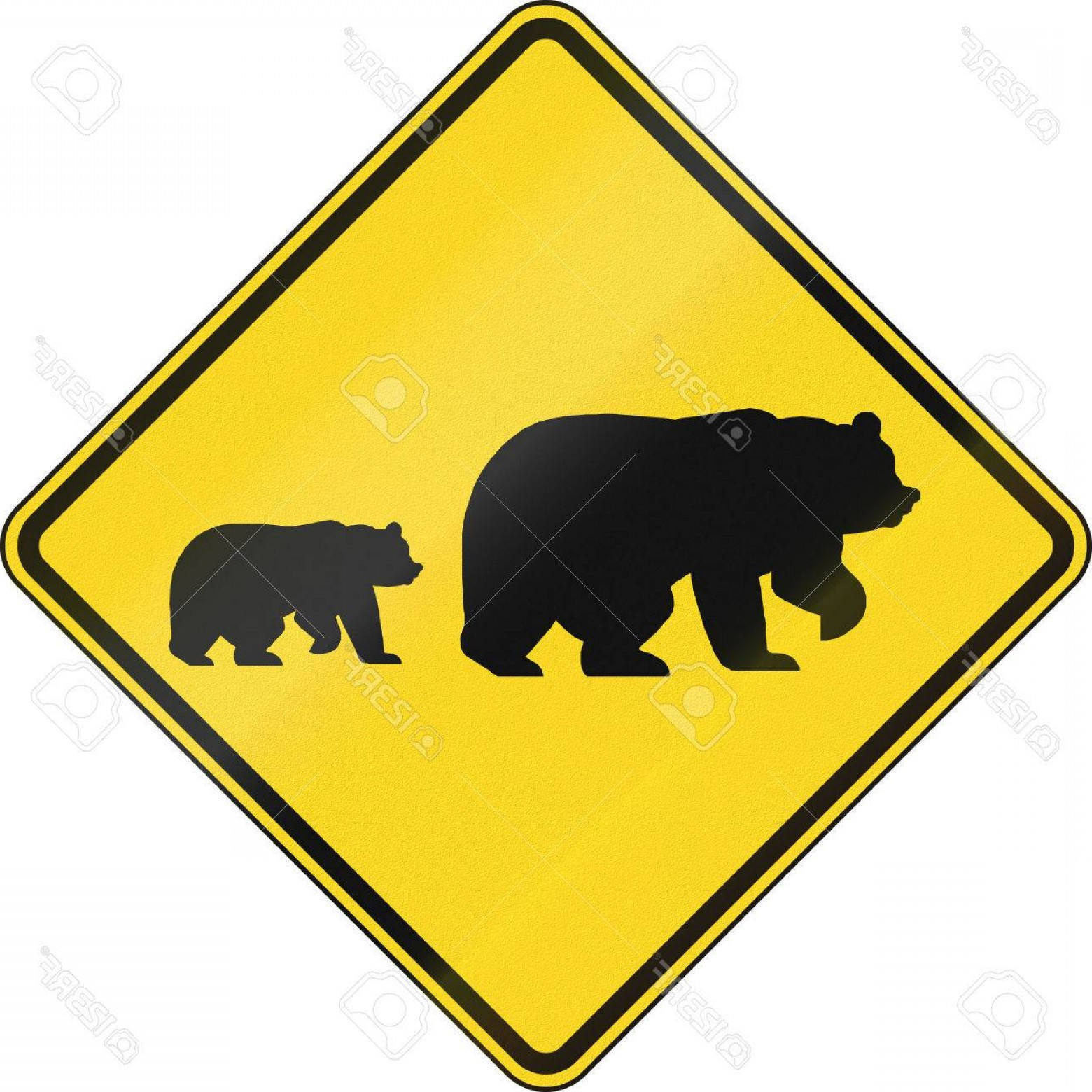 Road Sign Silhouette Vector Bear: Photous Warning Traffic Sign Migrating Bears