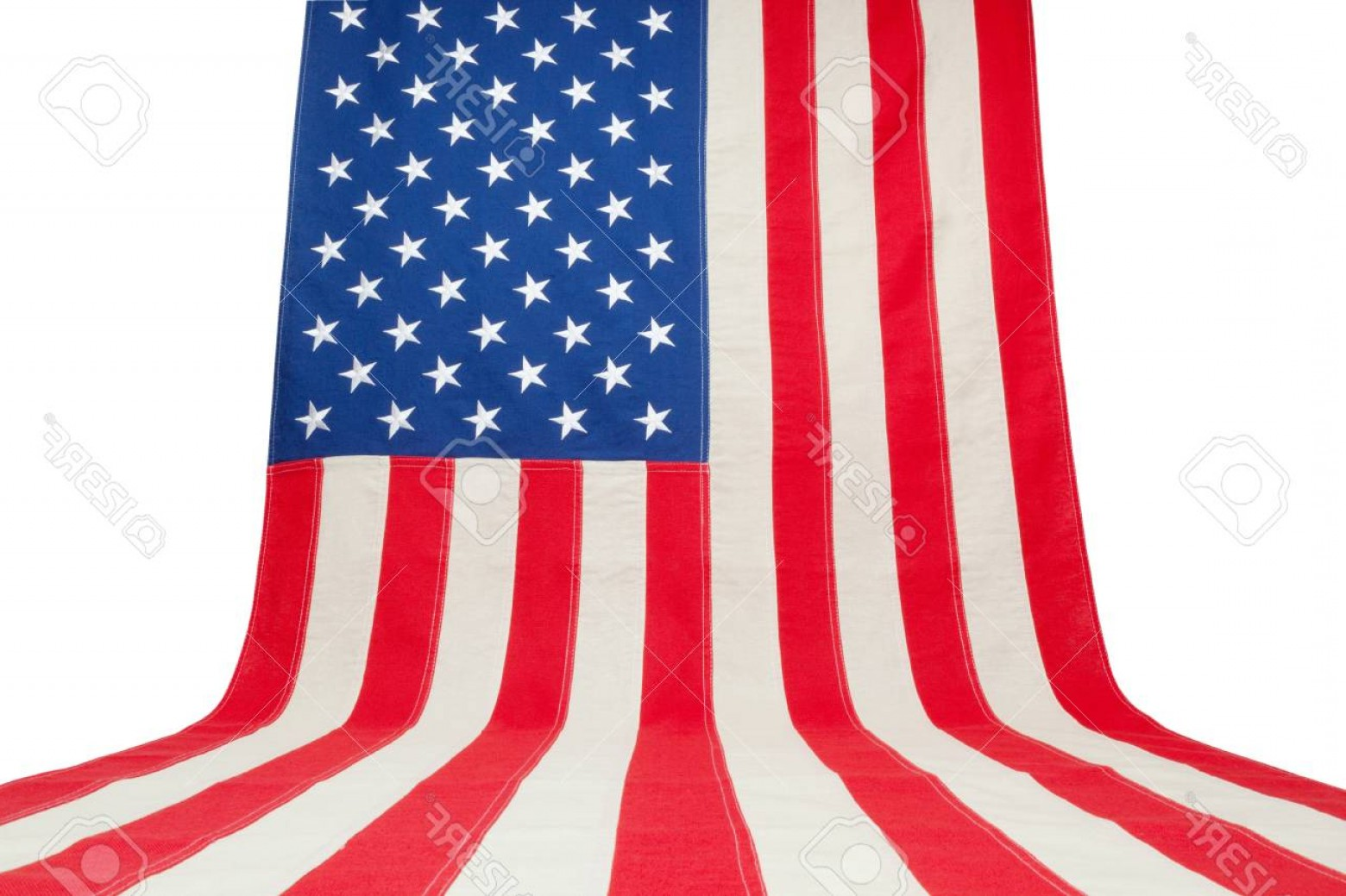 Vertical American Flag Vector: Photousa Flag Hanging In Vertical Position On A Wall