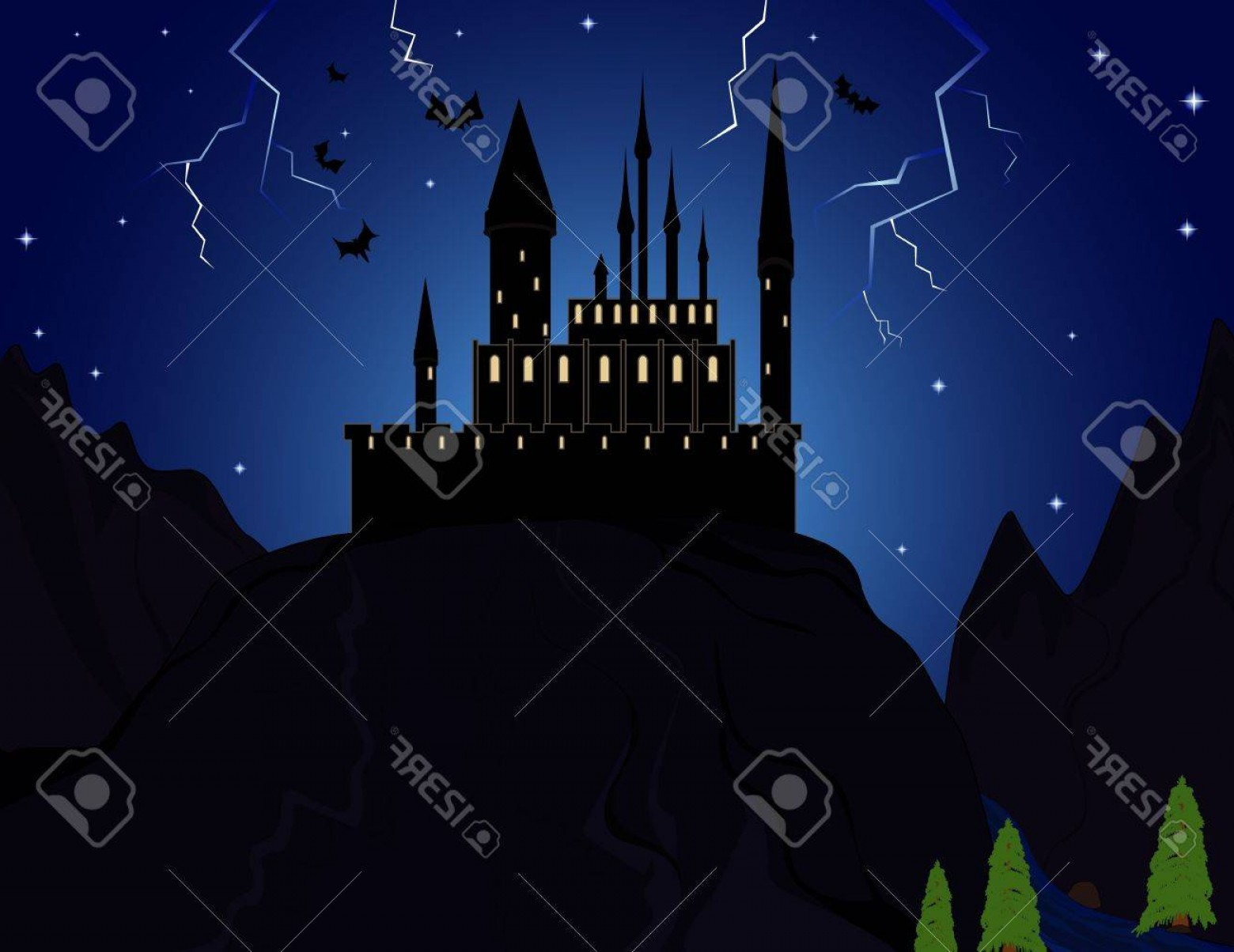 Vectors Fortress Flying: Photovampire Castle In The Mountains With Flying Bats
