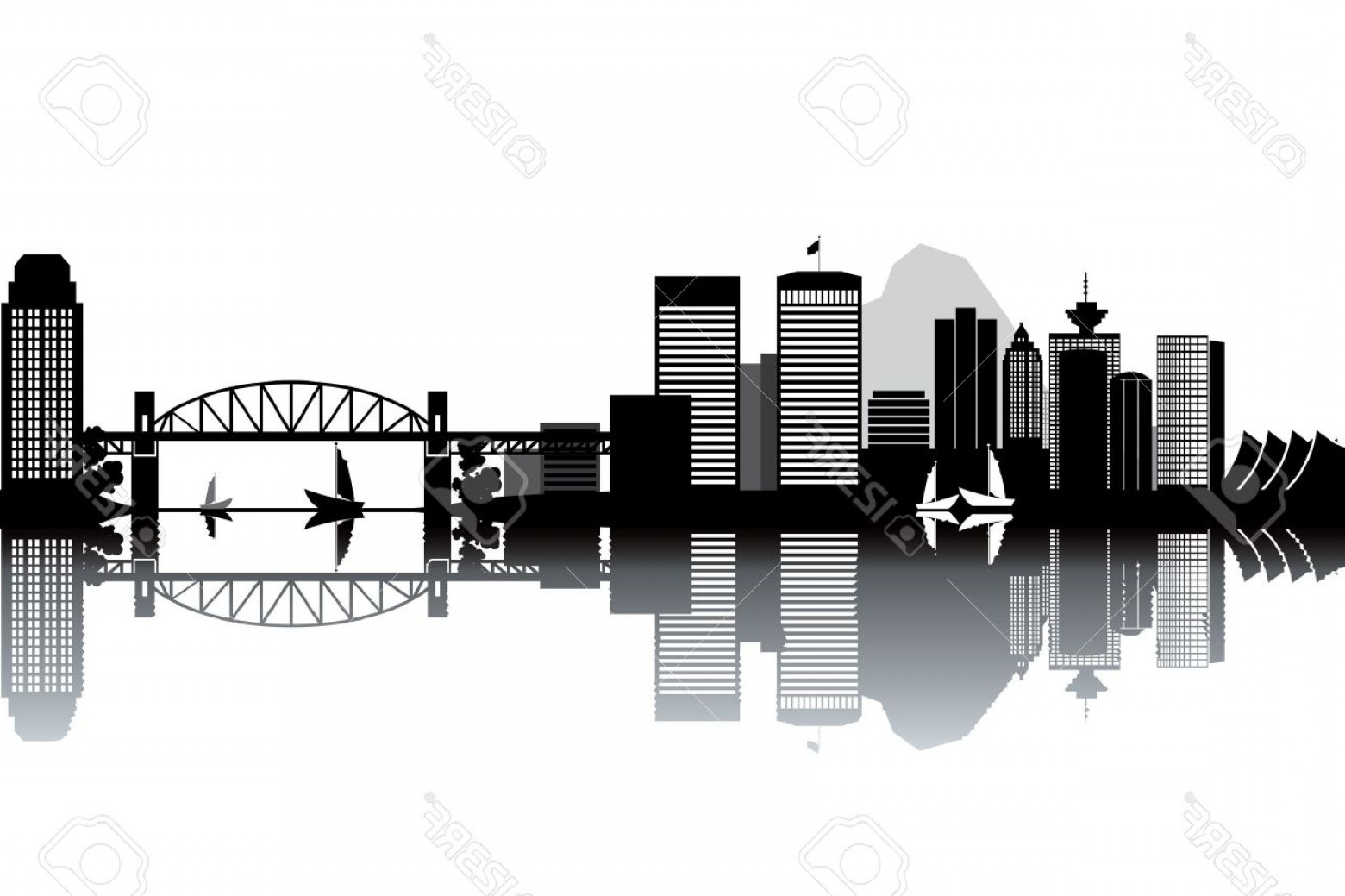 Vancouver Skyline Vector: Photovancouver Skyline Black And White Vector Illustration
