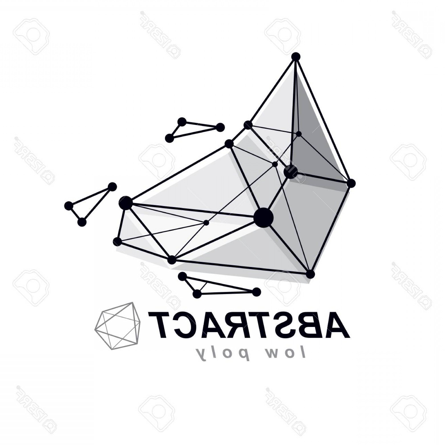 Vector Abstract 3D: Photovector Abstract D Geometric Shape Polygonal Figure Technology Corporate Emblem
