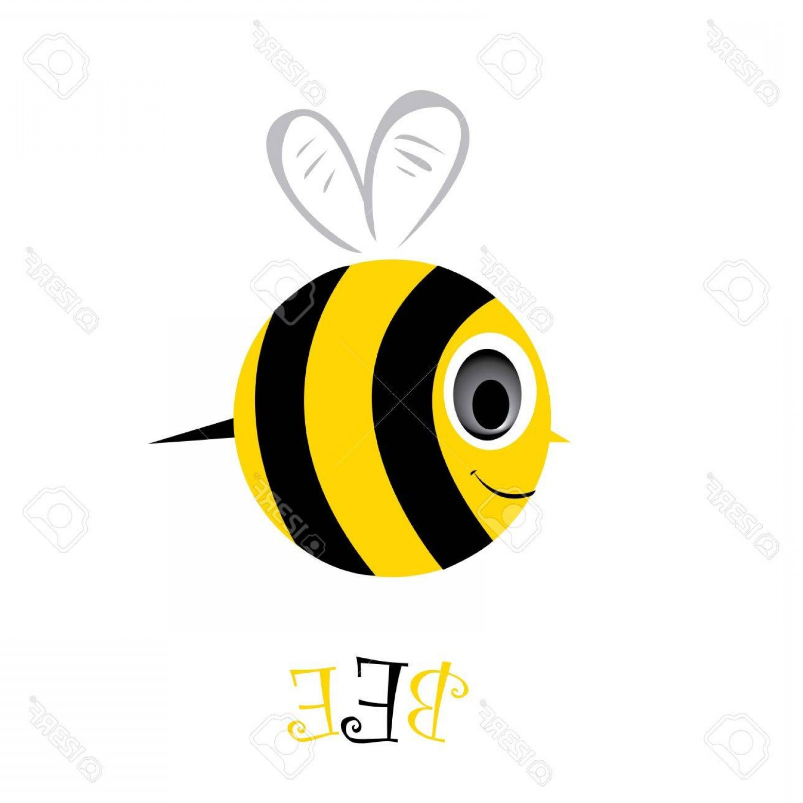 Vector Bee Icon: Photovector Bee Icon Cartoon Cute Bright Baby Bee