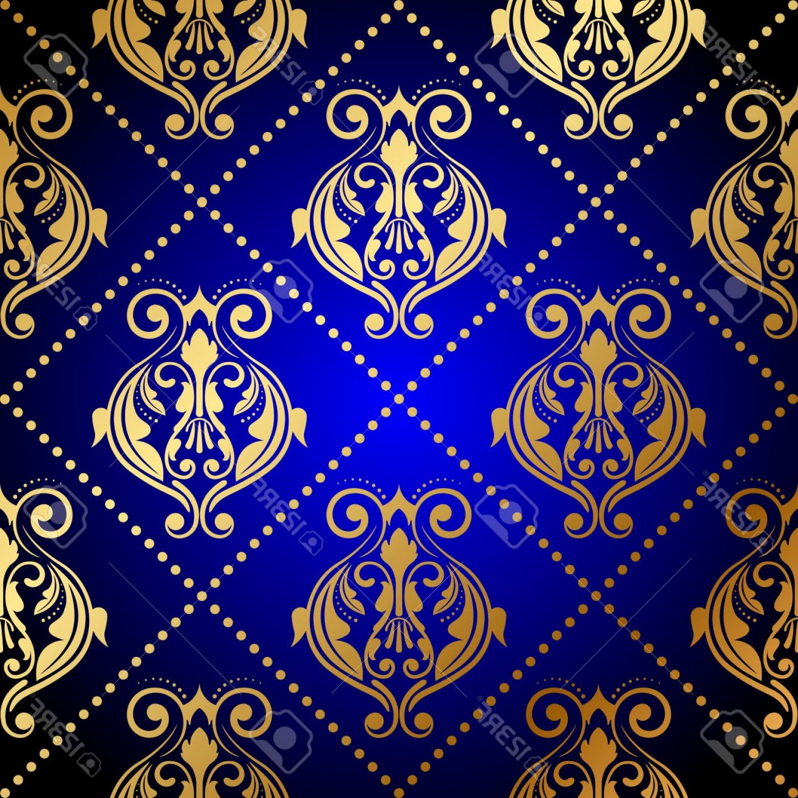 Vector Blue Luxury: Photovector Blue Background With Luxury Gold Ornament