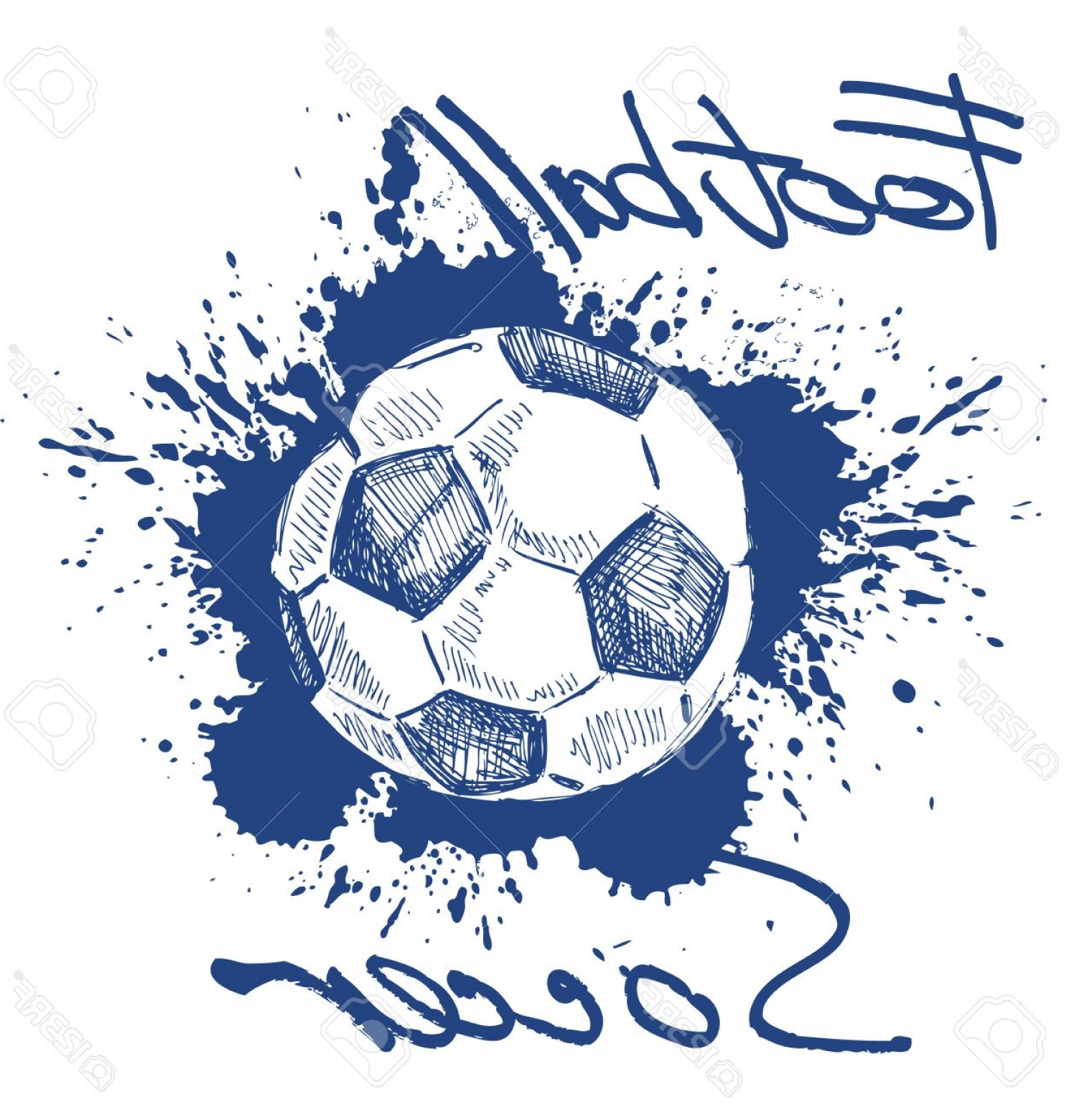 Soccer Blue Background Vector Graphics: Photovector Blue Soccer Icon On White Background
