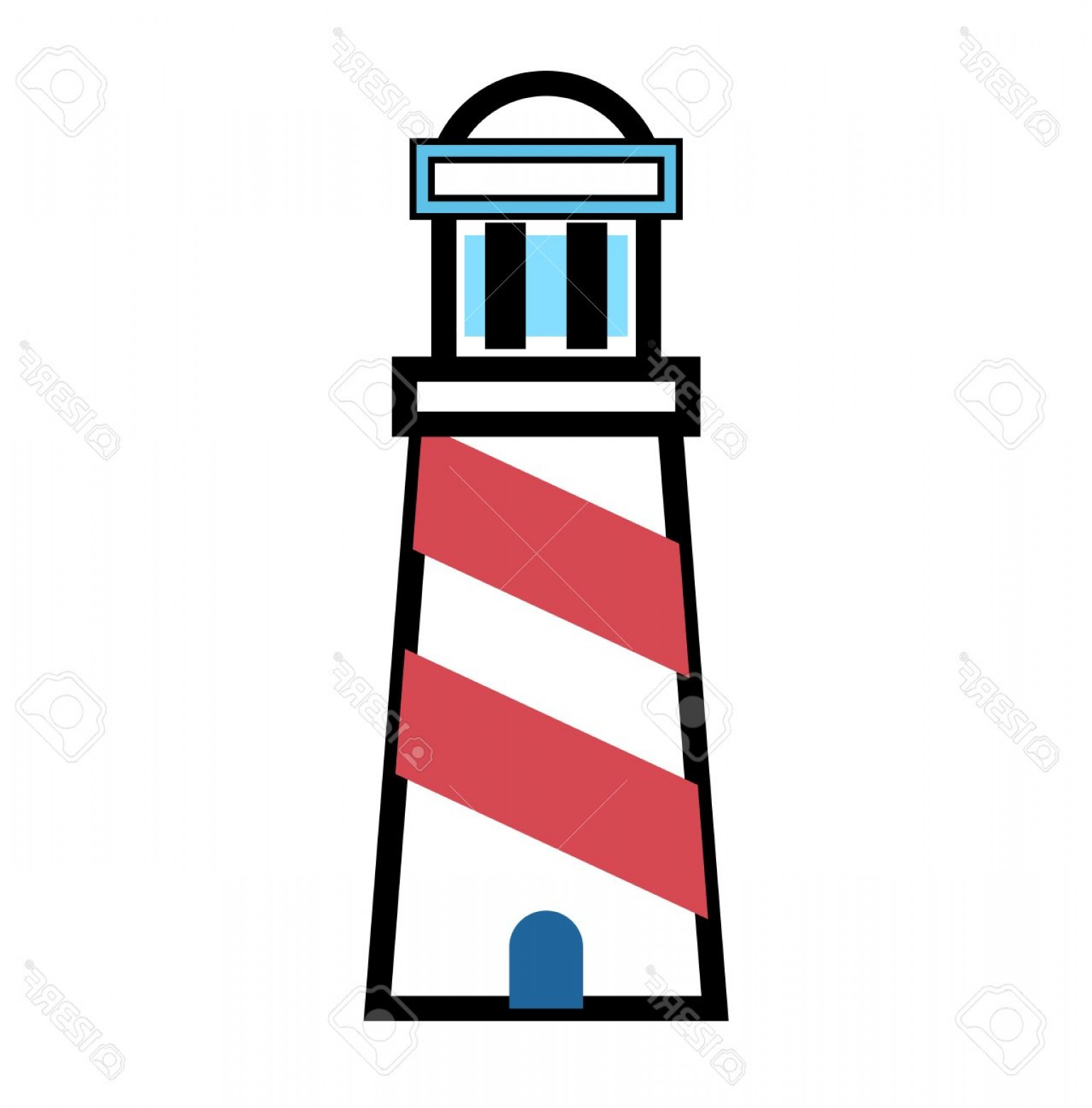 Jupiter Lighthouse Vector: Photovector Cartoon Flat Lighthouse Icon Searchlight Tower For Maritime Navigation Guidance Ocean Beacon