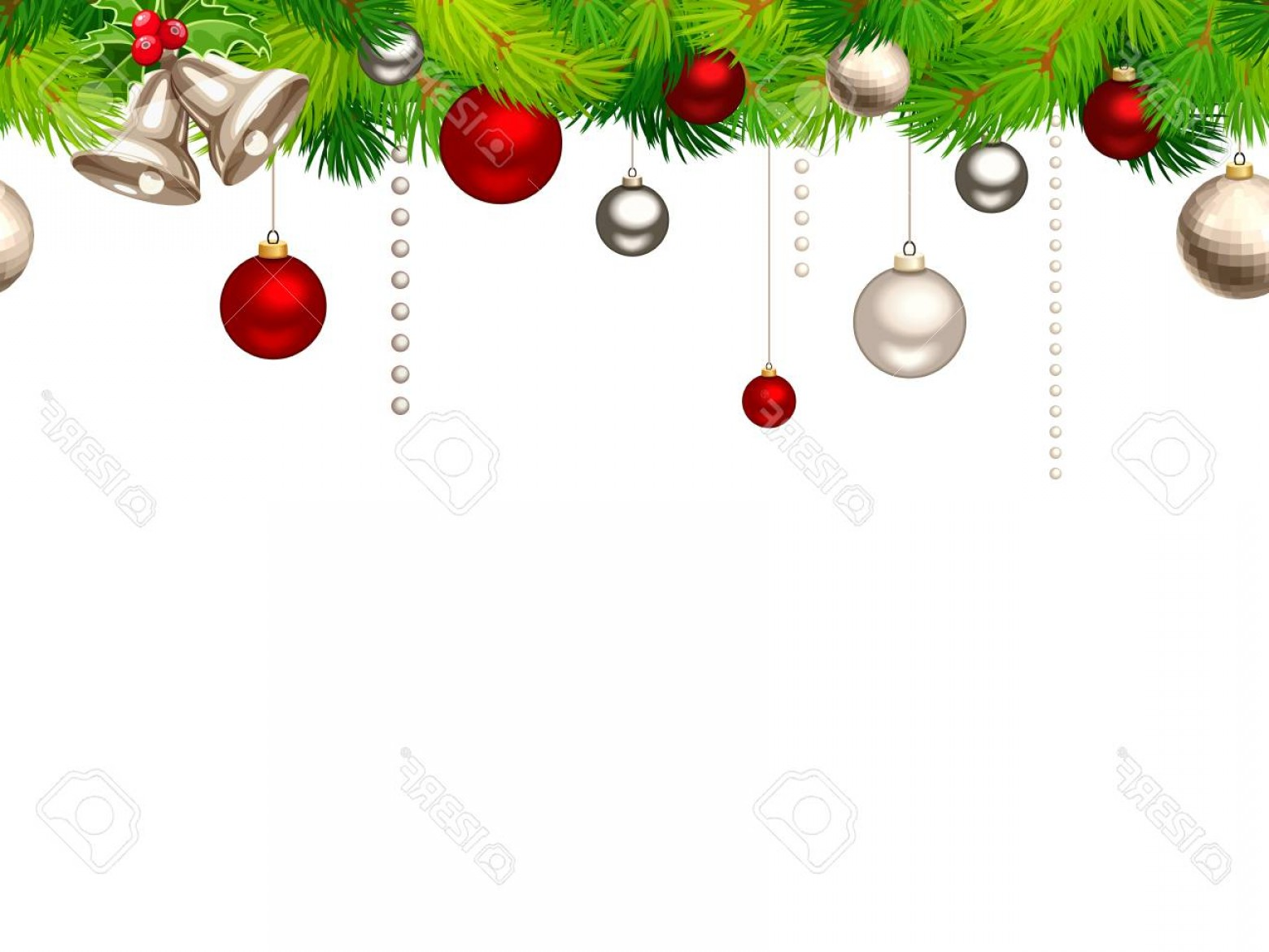 Christmas Horizontal Vector: Photovector Christmas Horizontal Seamless Background With Red And Silver Balls And Green Fir Branches