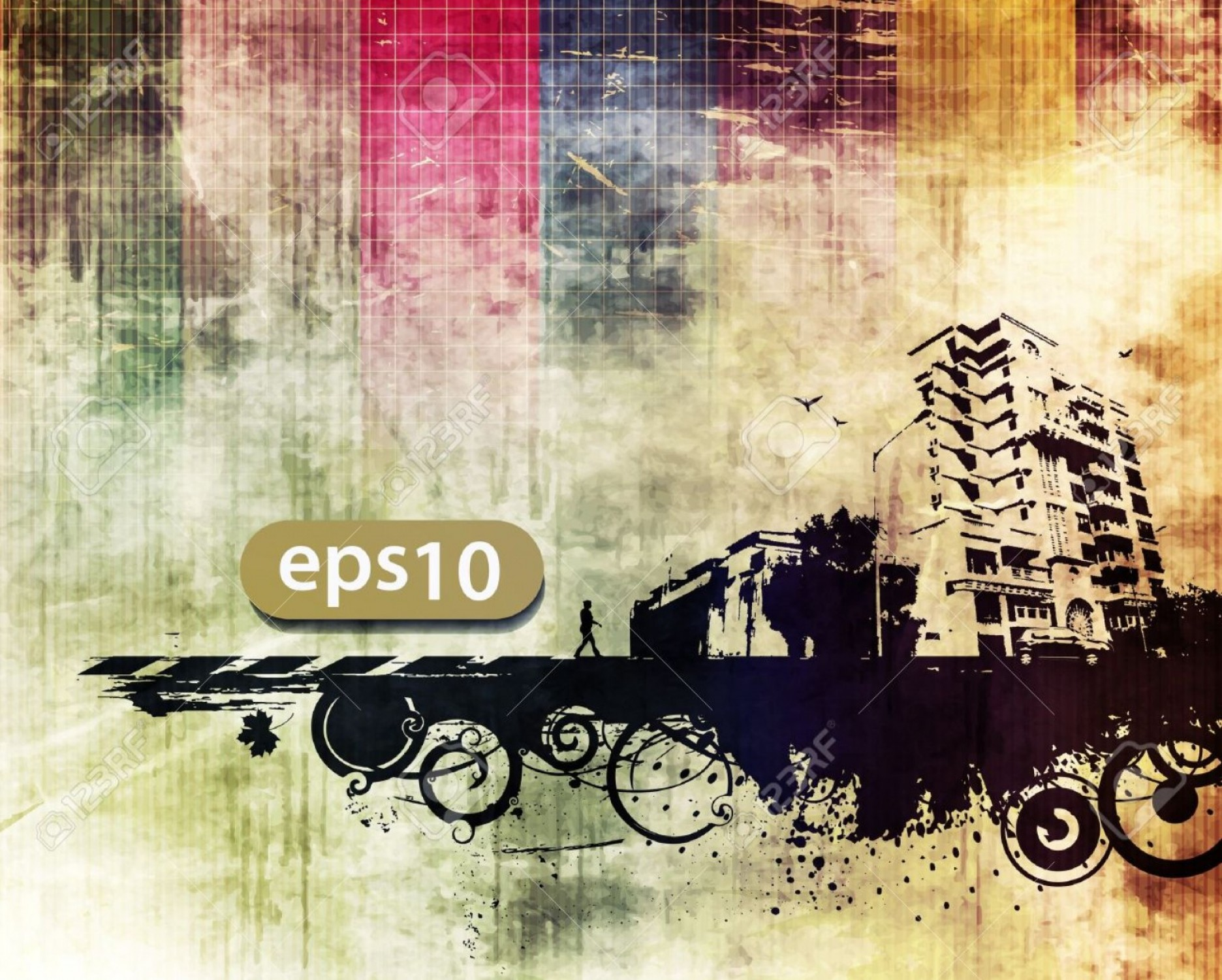 Urban Designs Vectors: Photovector City Scape Urban Scene With Grunge Background