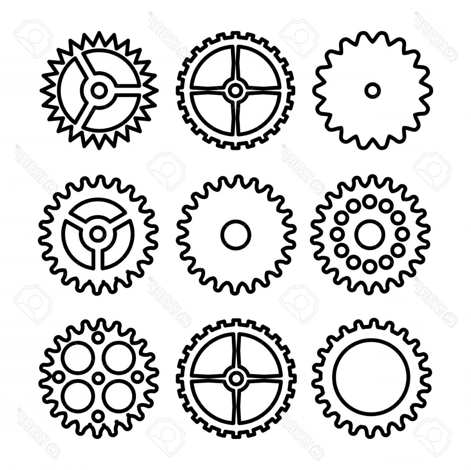 Photovector Clock Gears Outline Icons Set Clock Or Machine